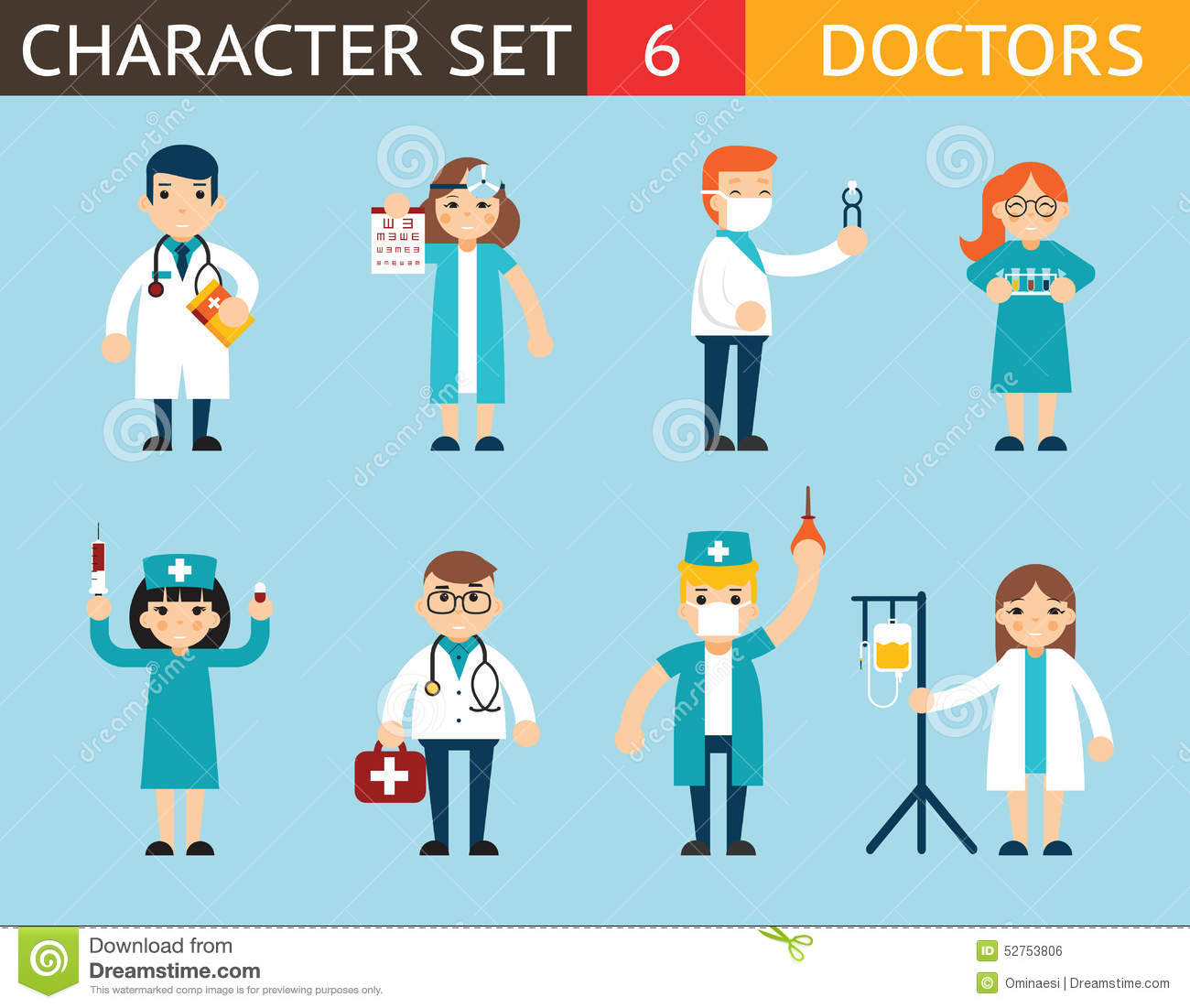 918a3c0250e57 Doctor And Nurse Characters Madical Icon Set Stock Illustration ...