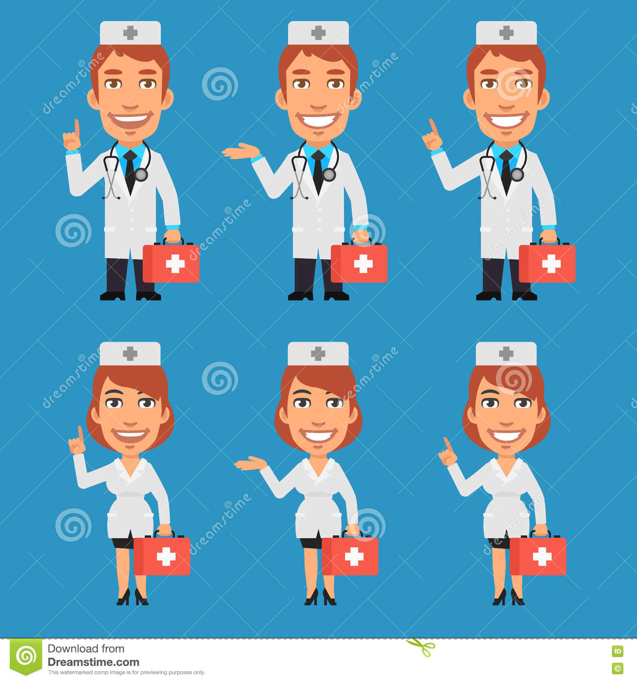 Doctor and Nurse Holding Suitcase and Points