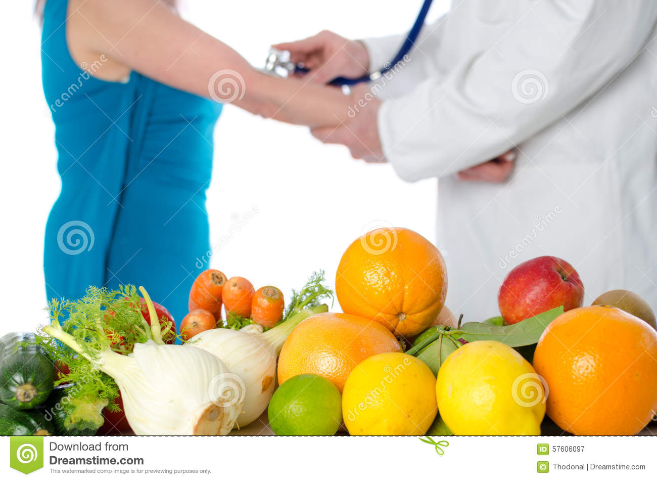 Doctor nutritionist measuring blood pressure of his patient