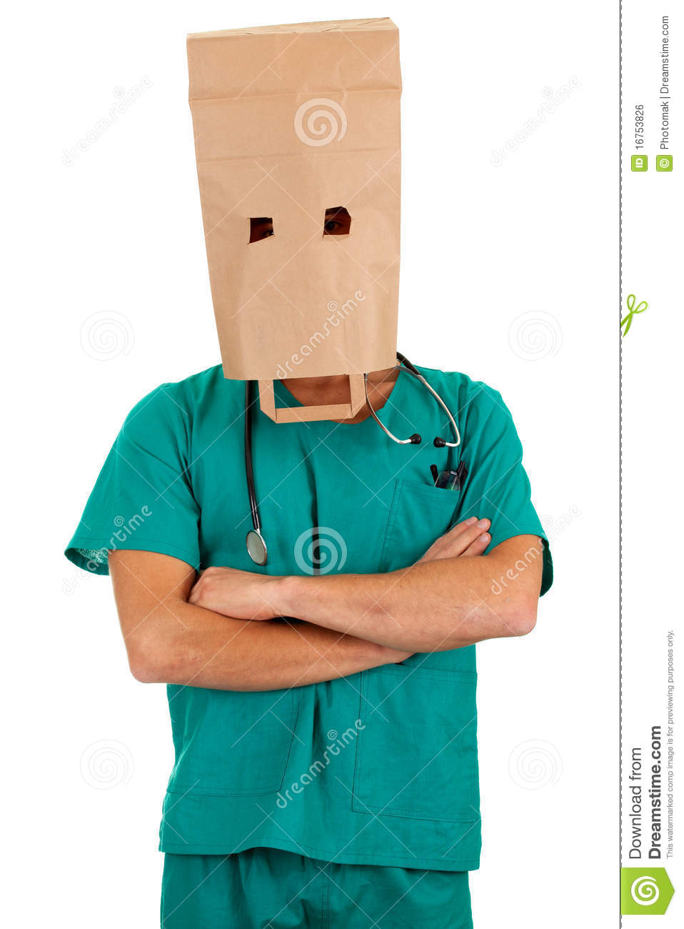 Doctor With Paper Bag On Head Stock Photo Image Of