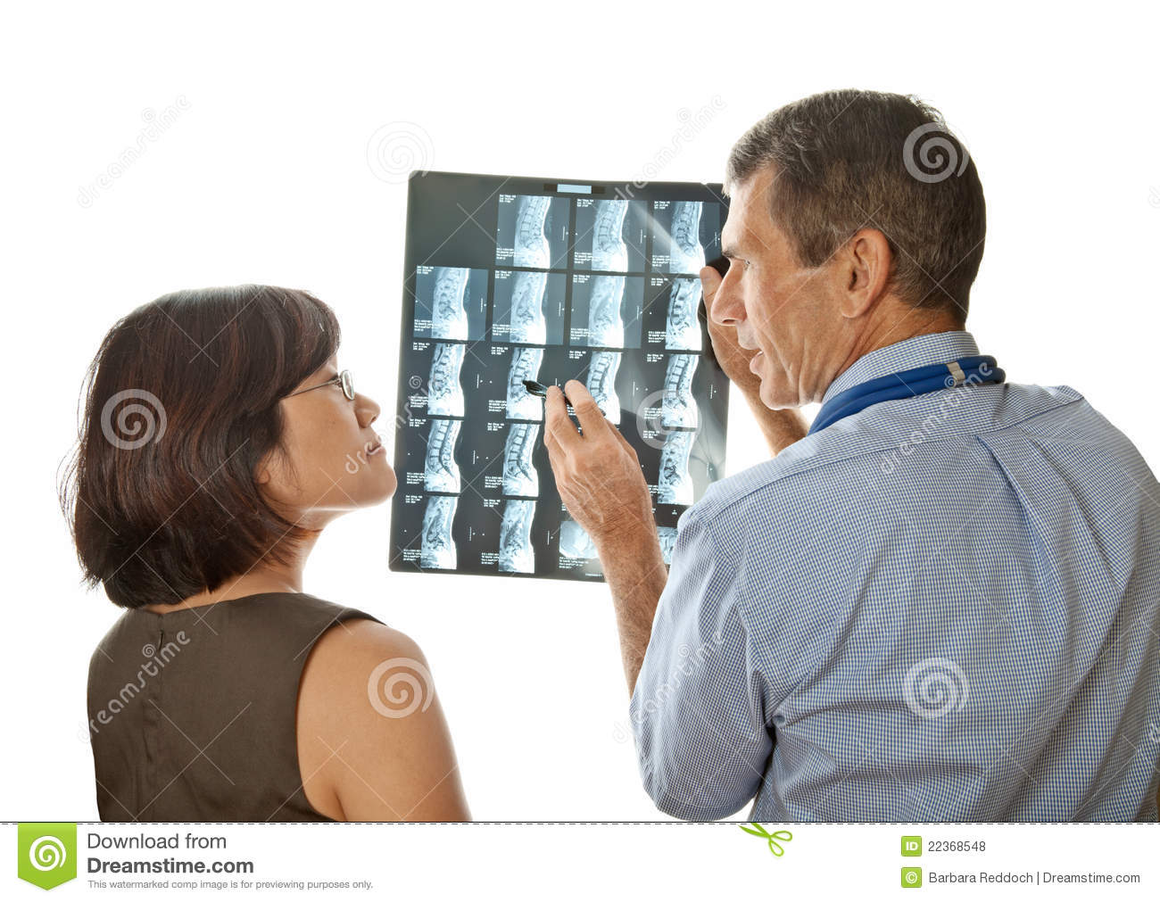Doctor and Patient Viewing Spinal MRI Scans