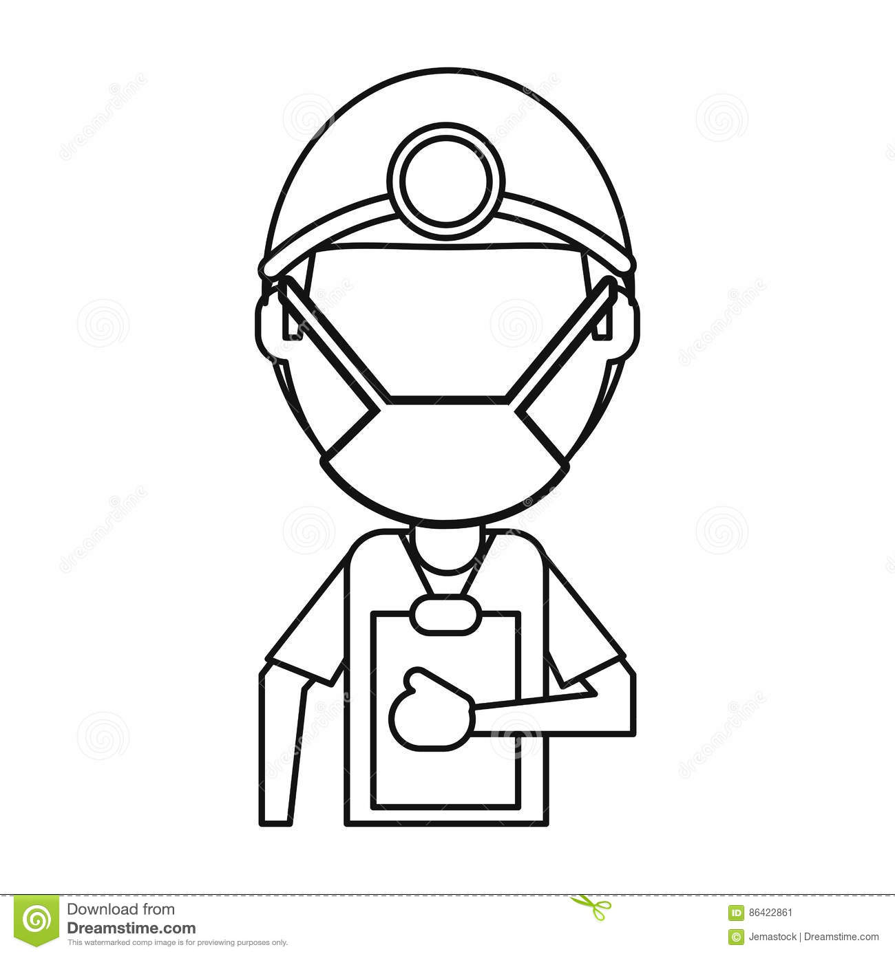 doctor professional surgery mask hat clipboard thin line stock Surgery Club doctor professional surgery mask hat clipboard thin line