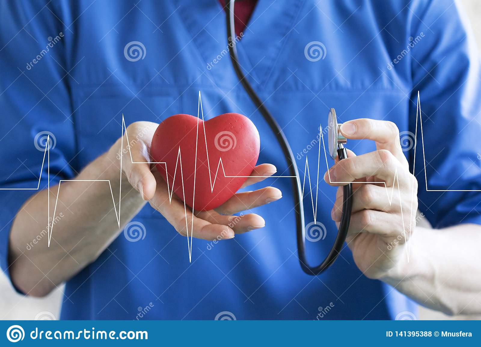 Doctor pushing button heart pulse healthcare on virtual internet panel medicine
