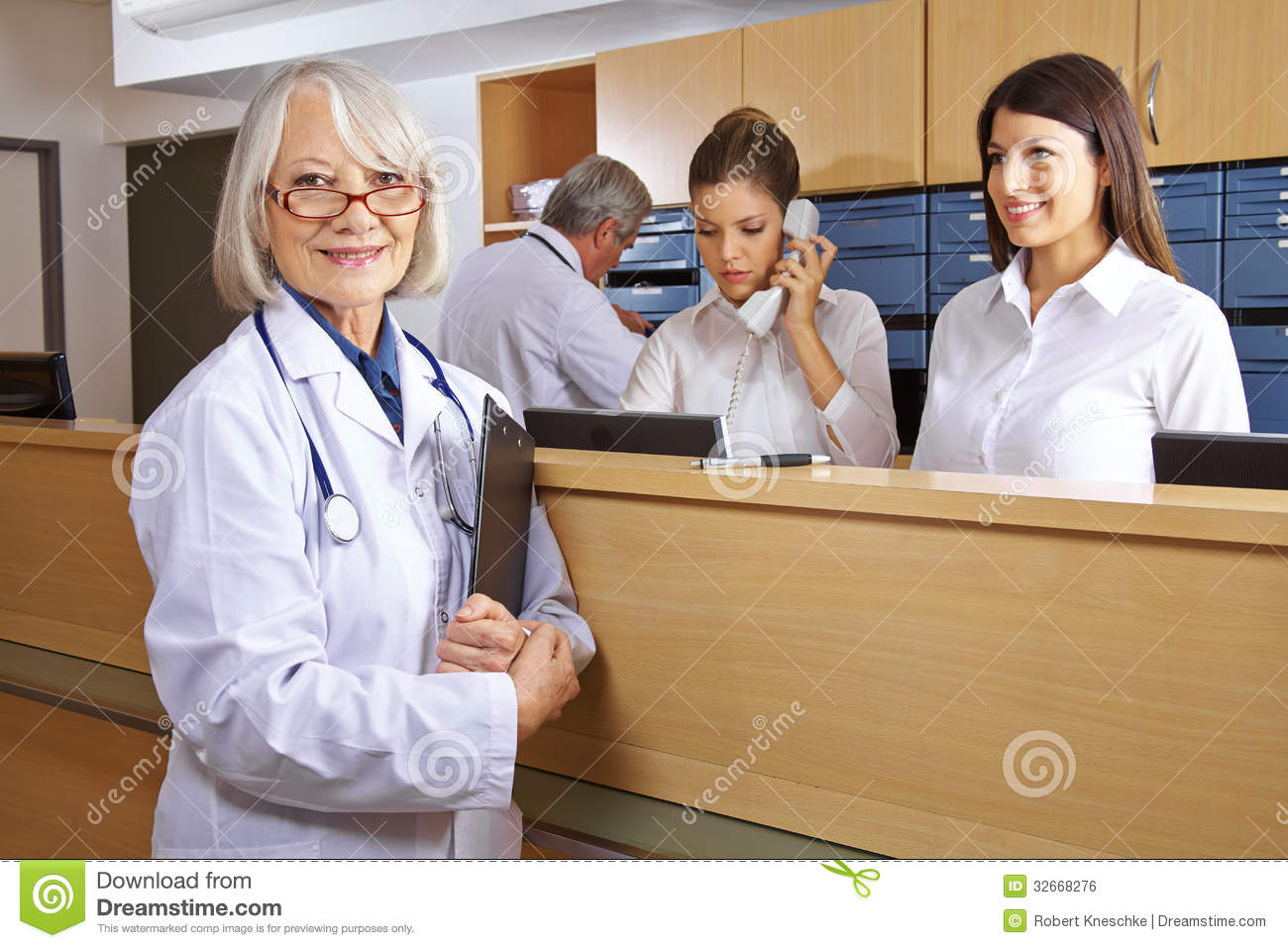 Hospital Receptionist Hospital Receptionist Doctor and receptionist in hospital