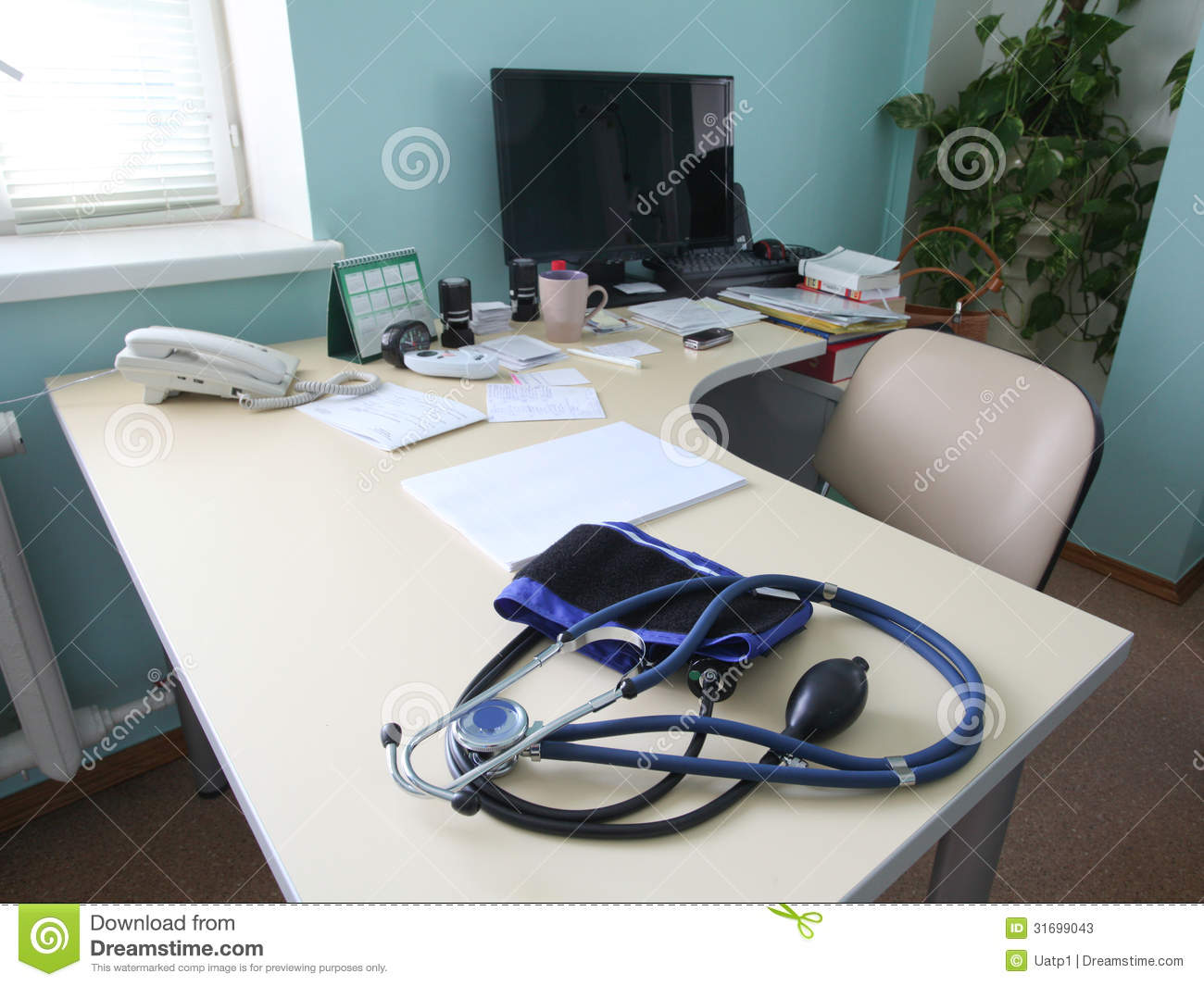 Doctor's Consulting Room Stock Image. Image Of Clean