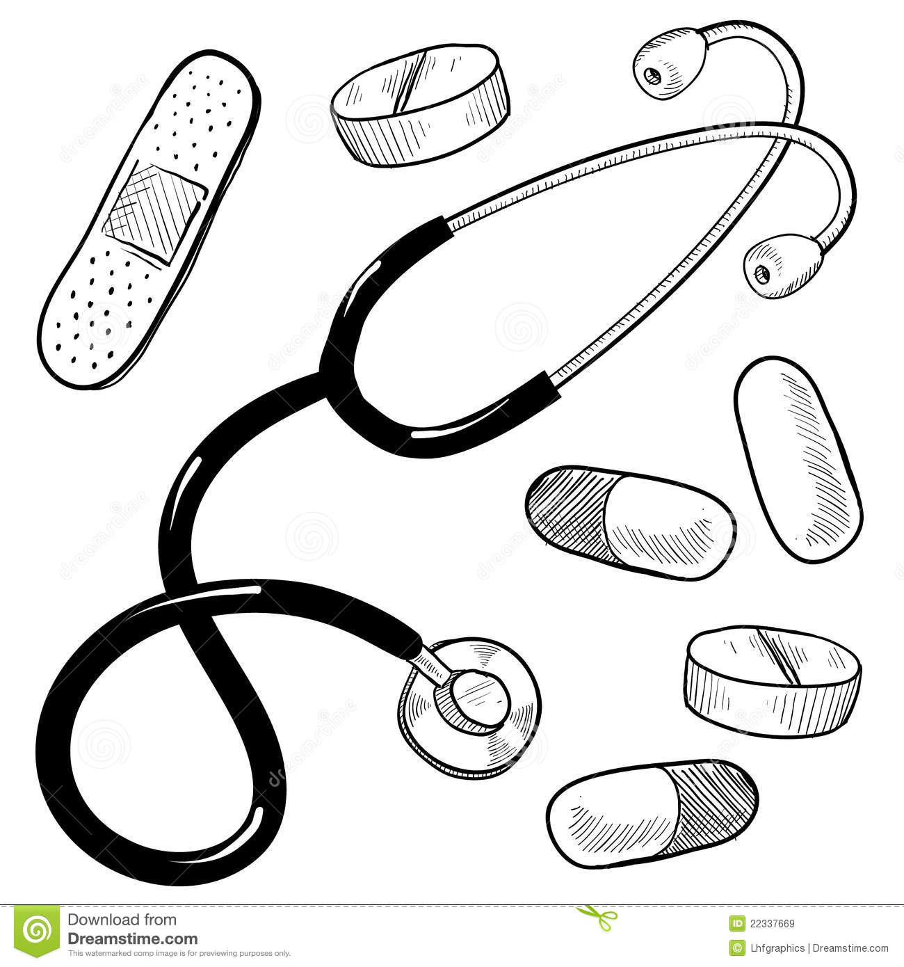 Doctors Equipment Sketch Royalty Free Stock Images