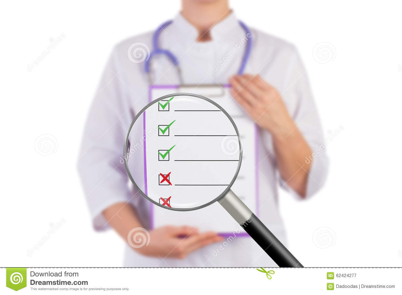 The Doctor Shows A Sheet Of Paper For Recording, Cross And Check