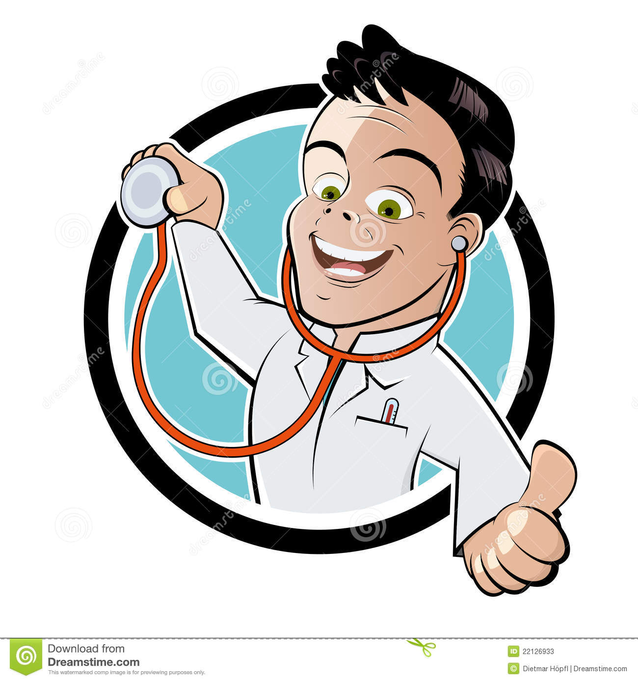 Cartoon illustration of happy doctor with stethoscope on button ...