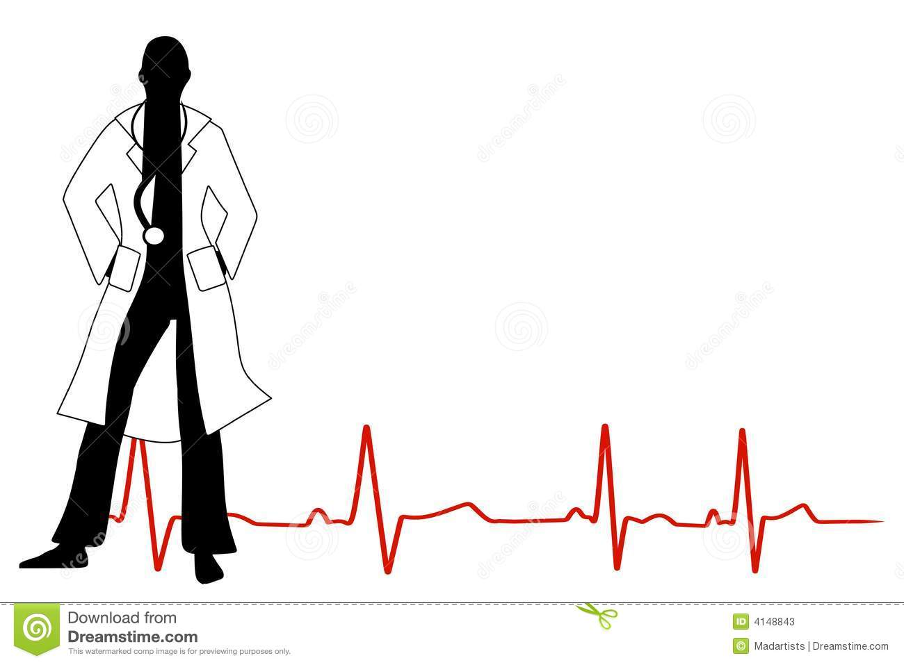 Doctor With Stethoscope Stock Vector Illustration Of Outline 4148843