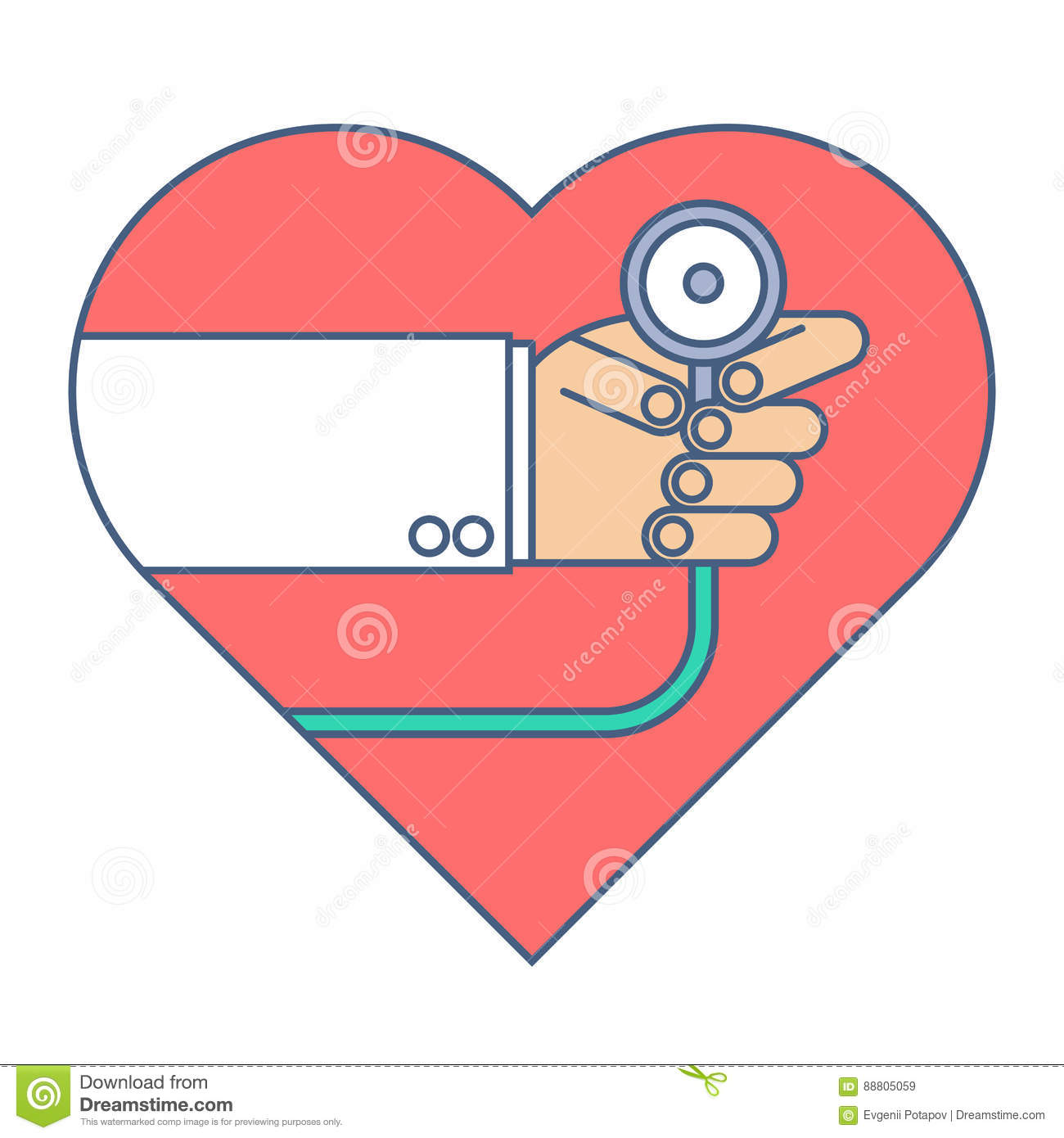 Doctor with a stethoscope exams heart pulse. Flat line illustration.