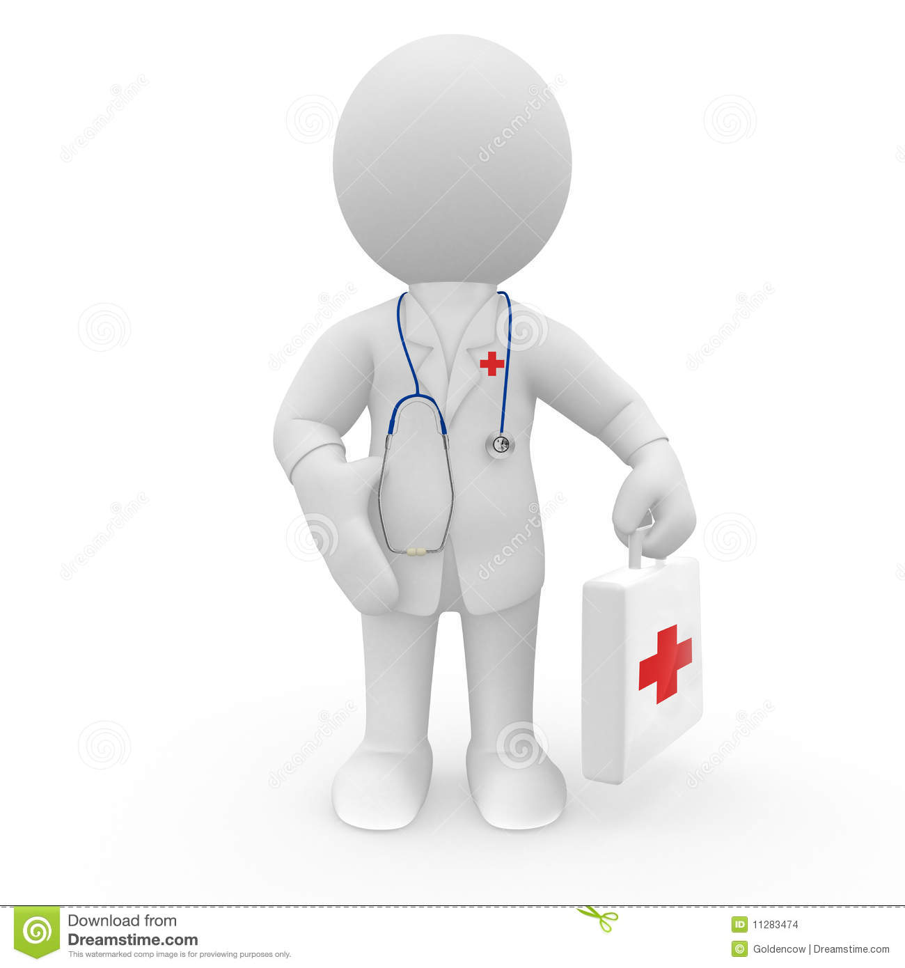 Doctor With Stethoscope And First Aid Kit Stock