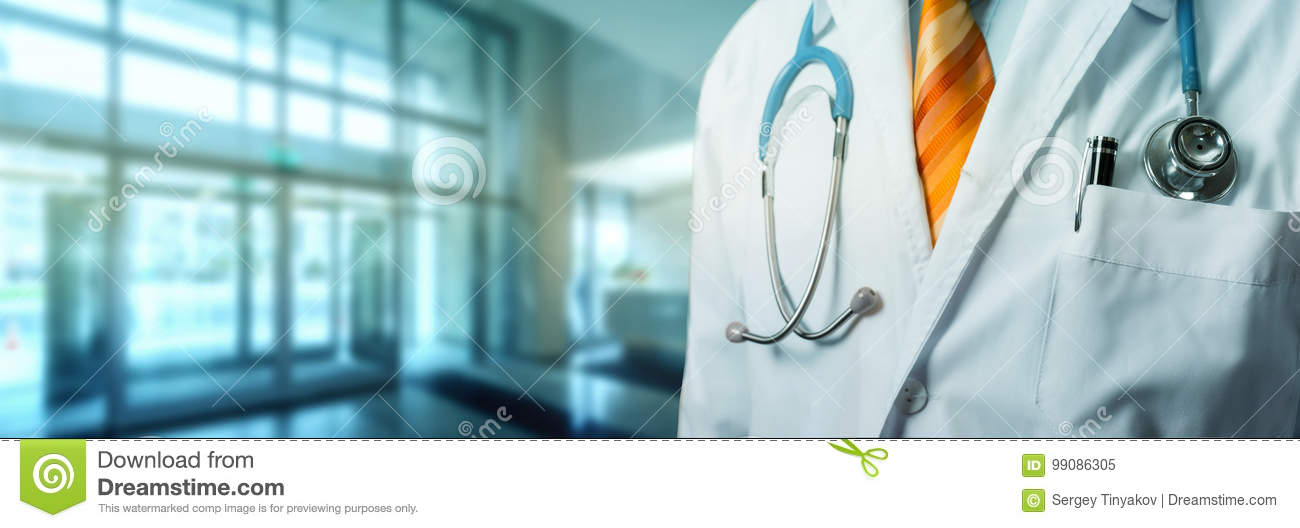 Doctor With Stethoscope In Hall Hospital. Global Healthcare Medicine Insurance Concept