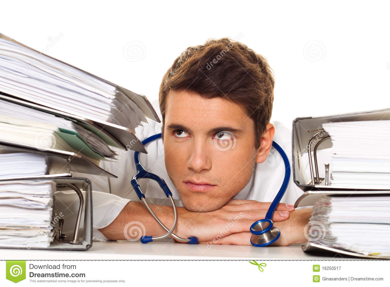 Doctor On Stress With Stacks Of Files. Bureaucracy Royalty Free ...