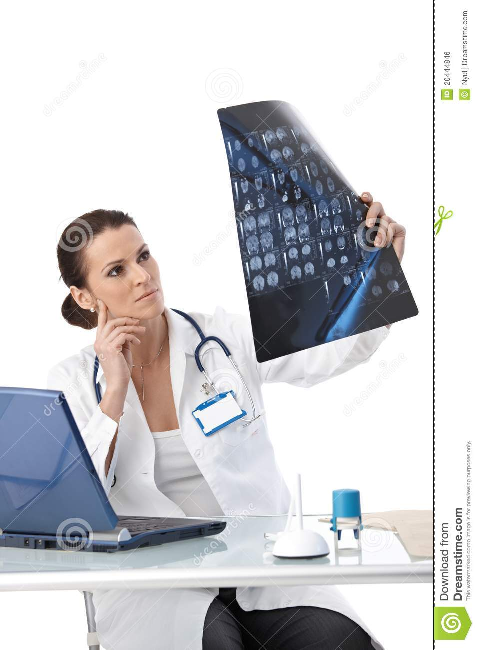 Doctor Studying X Ray Scan Royalty Free Stock Image