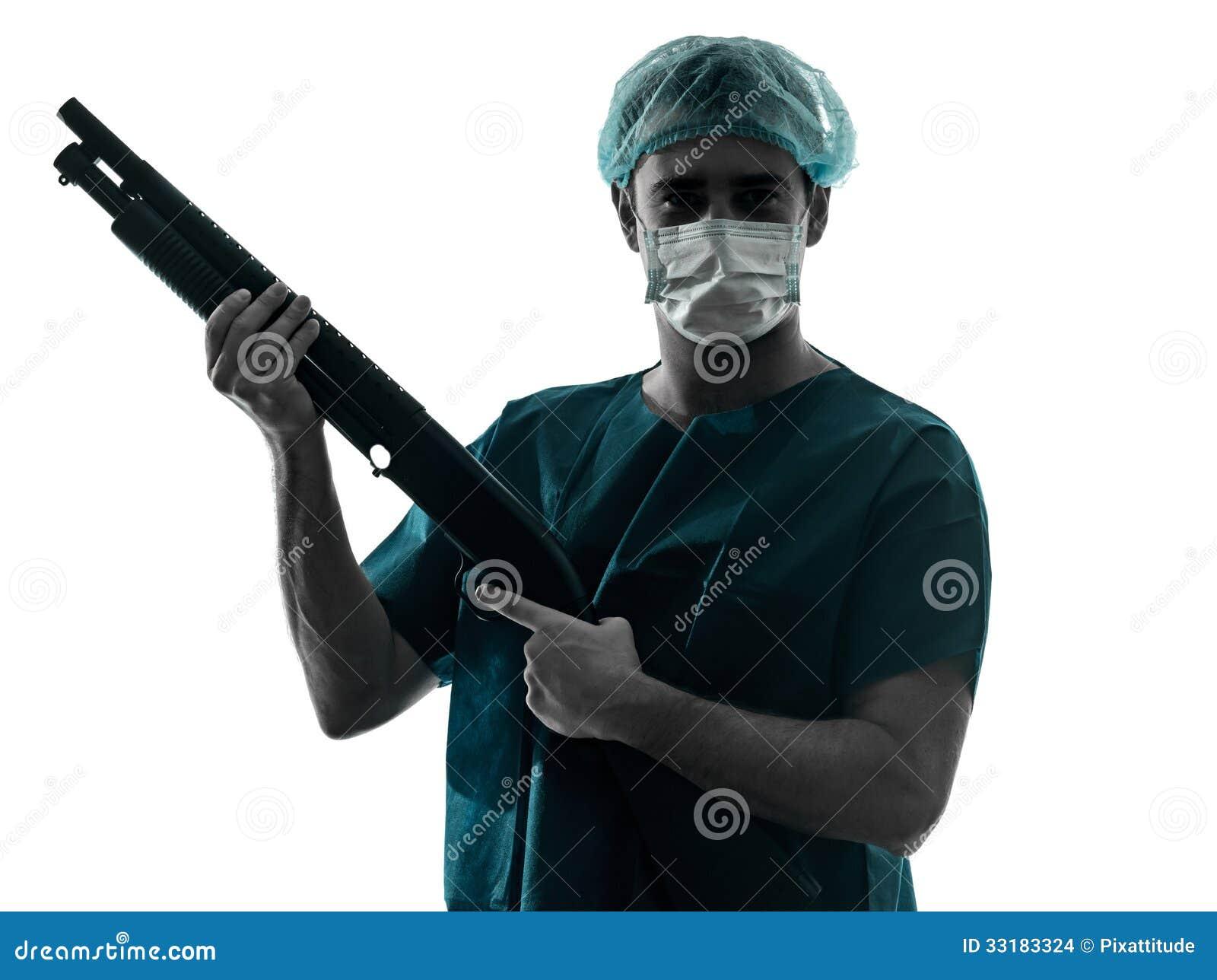Doctor Surgeon Man With Face Mask Holding Shotgun ...