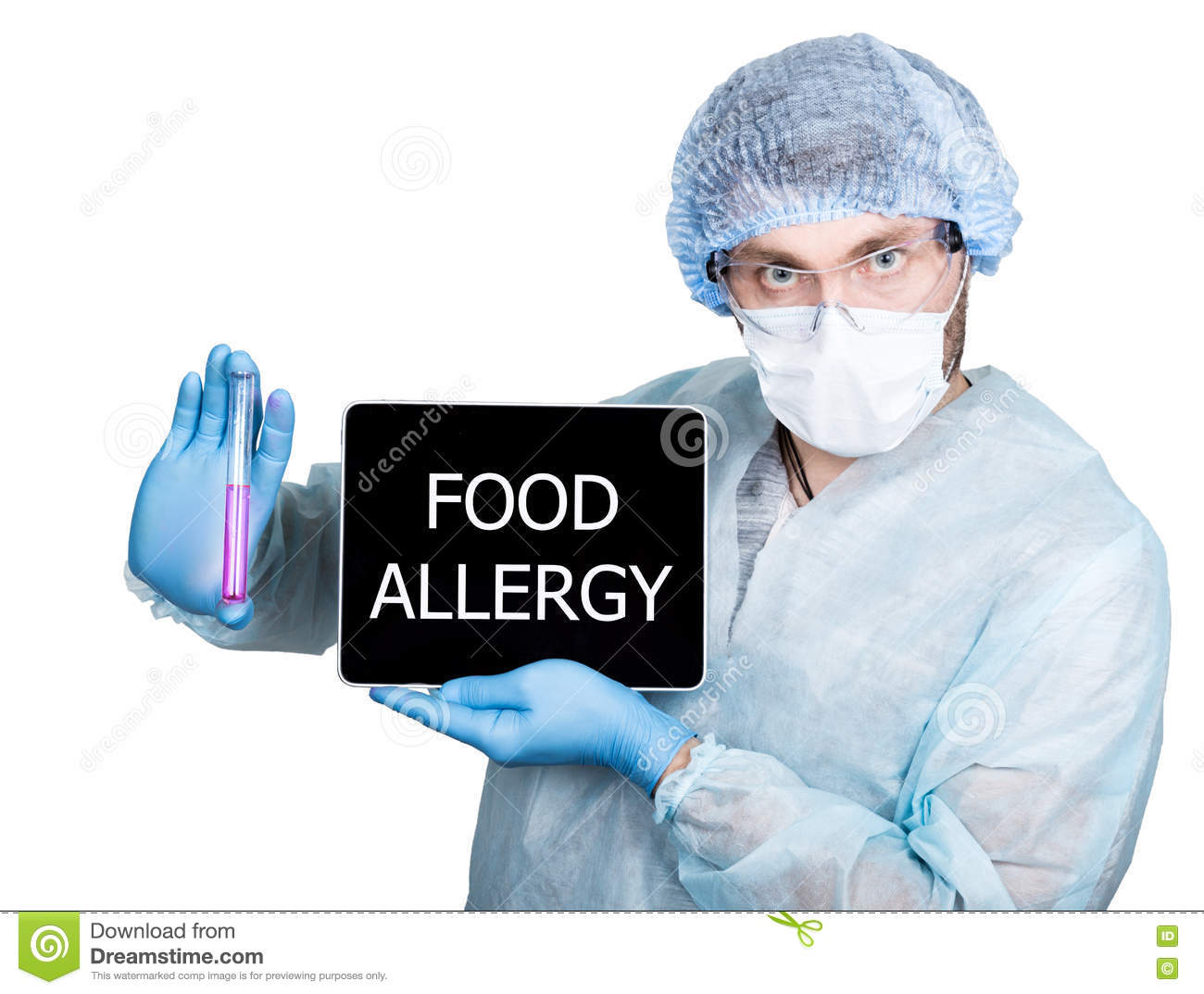Doctor in surgical uniform, holding test tube and digital tablet pc with food allergy sign. internet technology and