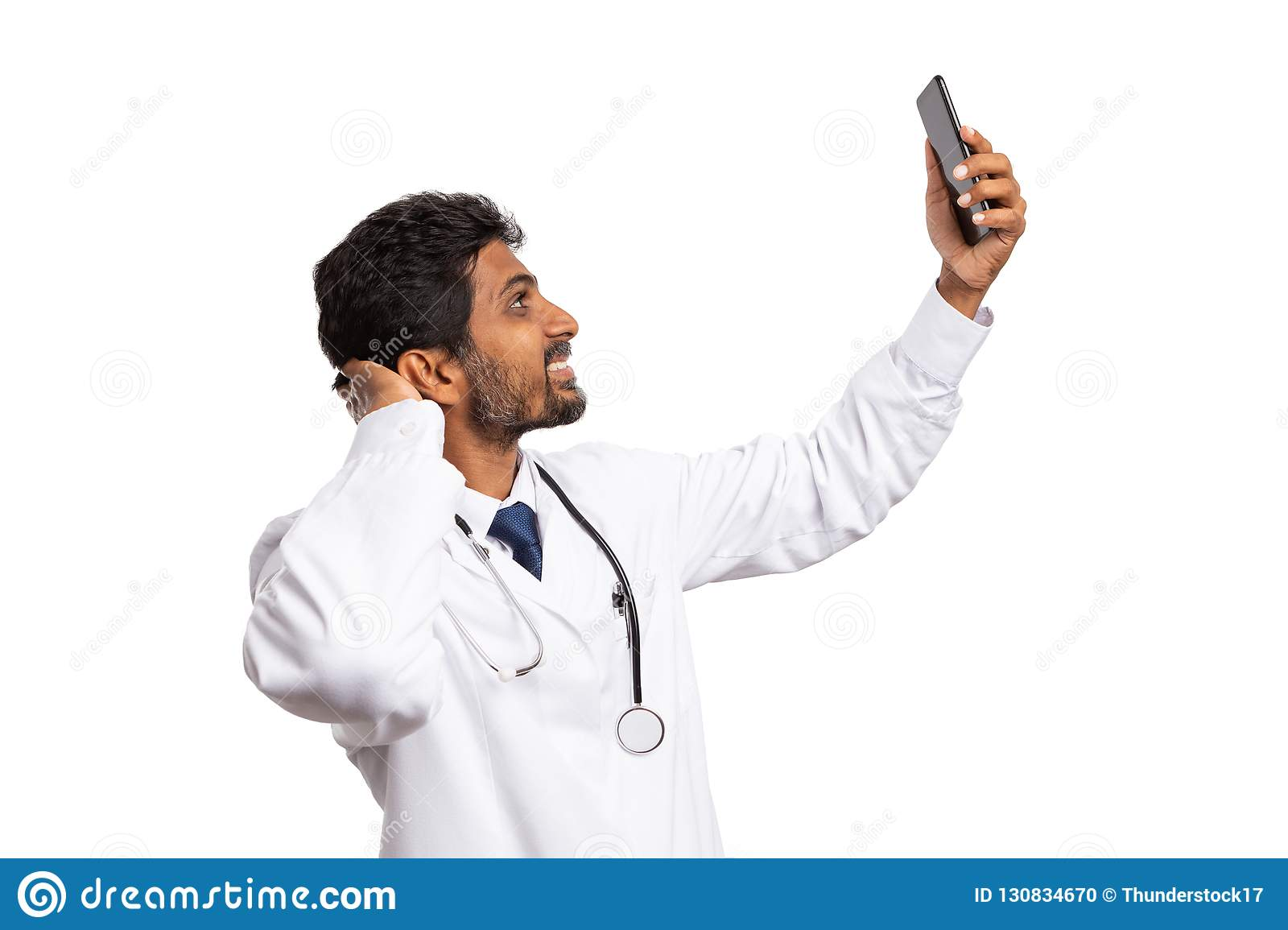 Doctor taking selfie with phone