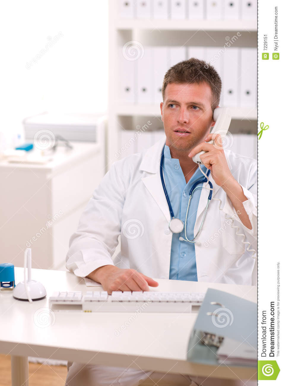 Doctor talking on phone