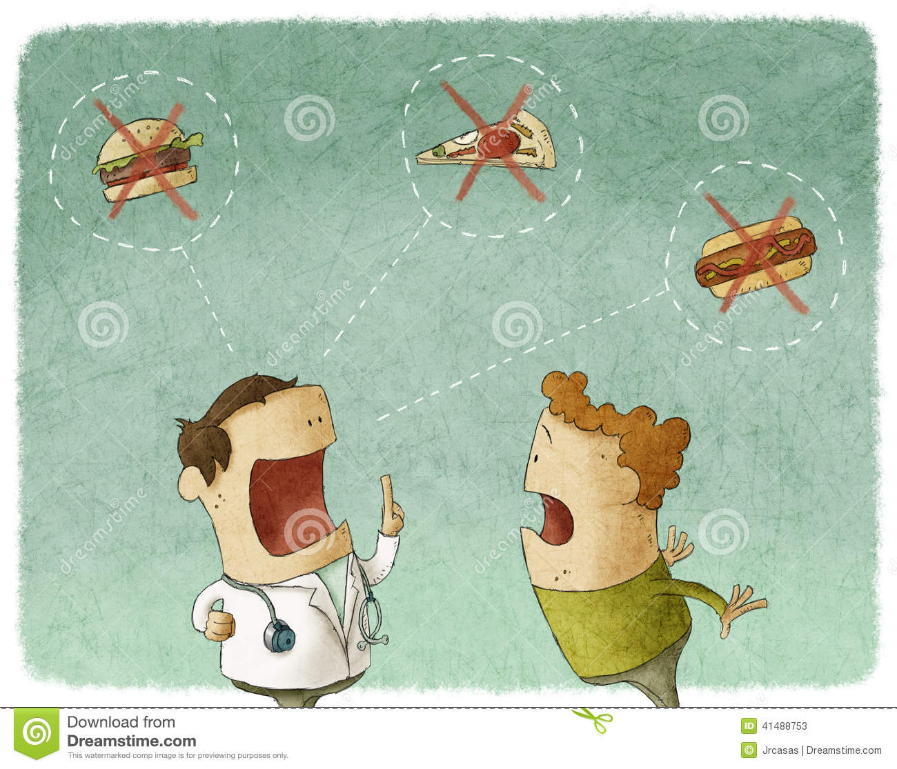 Download Doctor Talking To Patient Not Eat Unhealthy Food Stock Illustration - Illustration of cartoon, green: 41488753