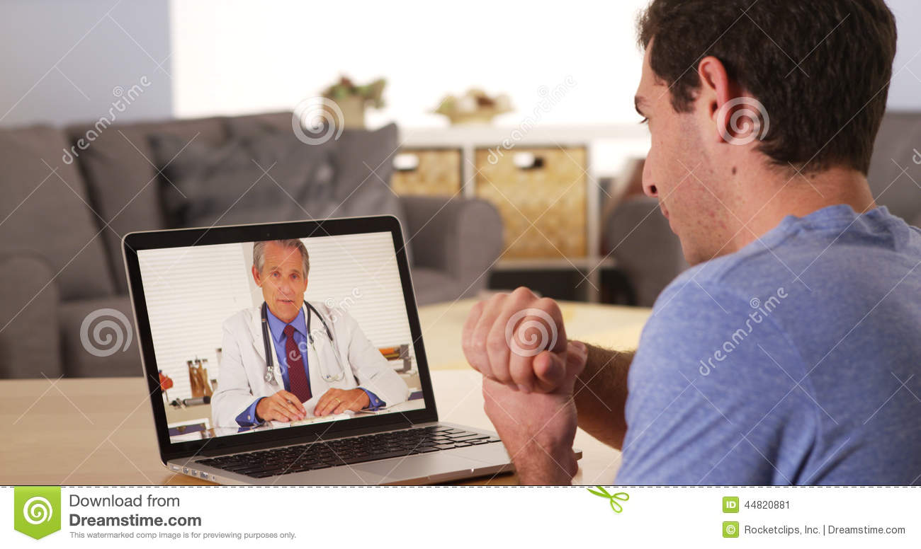 Doctor talking to patient over webcam stock image image for Free internet cam