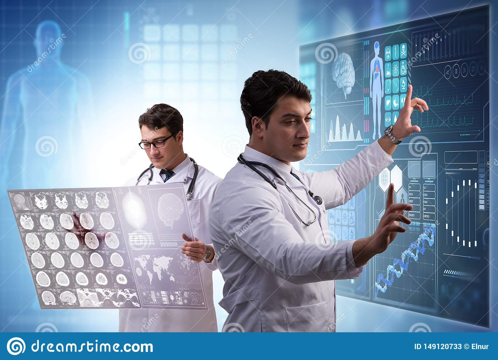 The doctor in telemedicine concept looking at x-ray image
