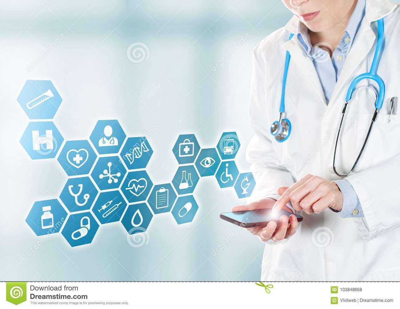 Doctor touching medical buttons on mobile