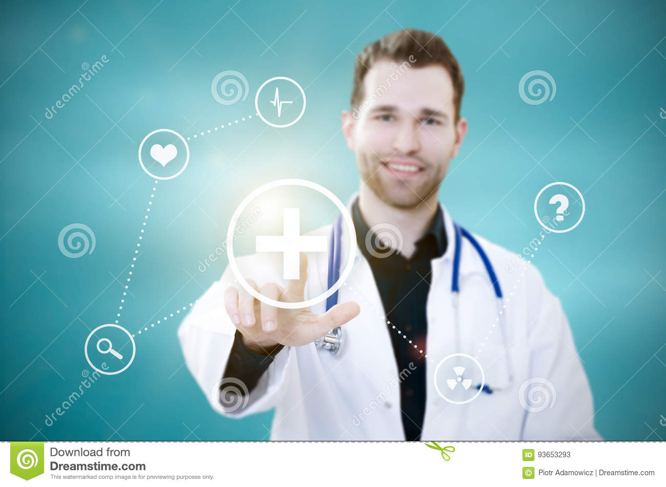 Doctor touching screen with icons. Futuristic medicine concept