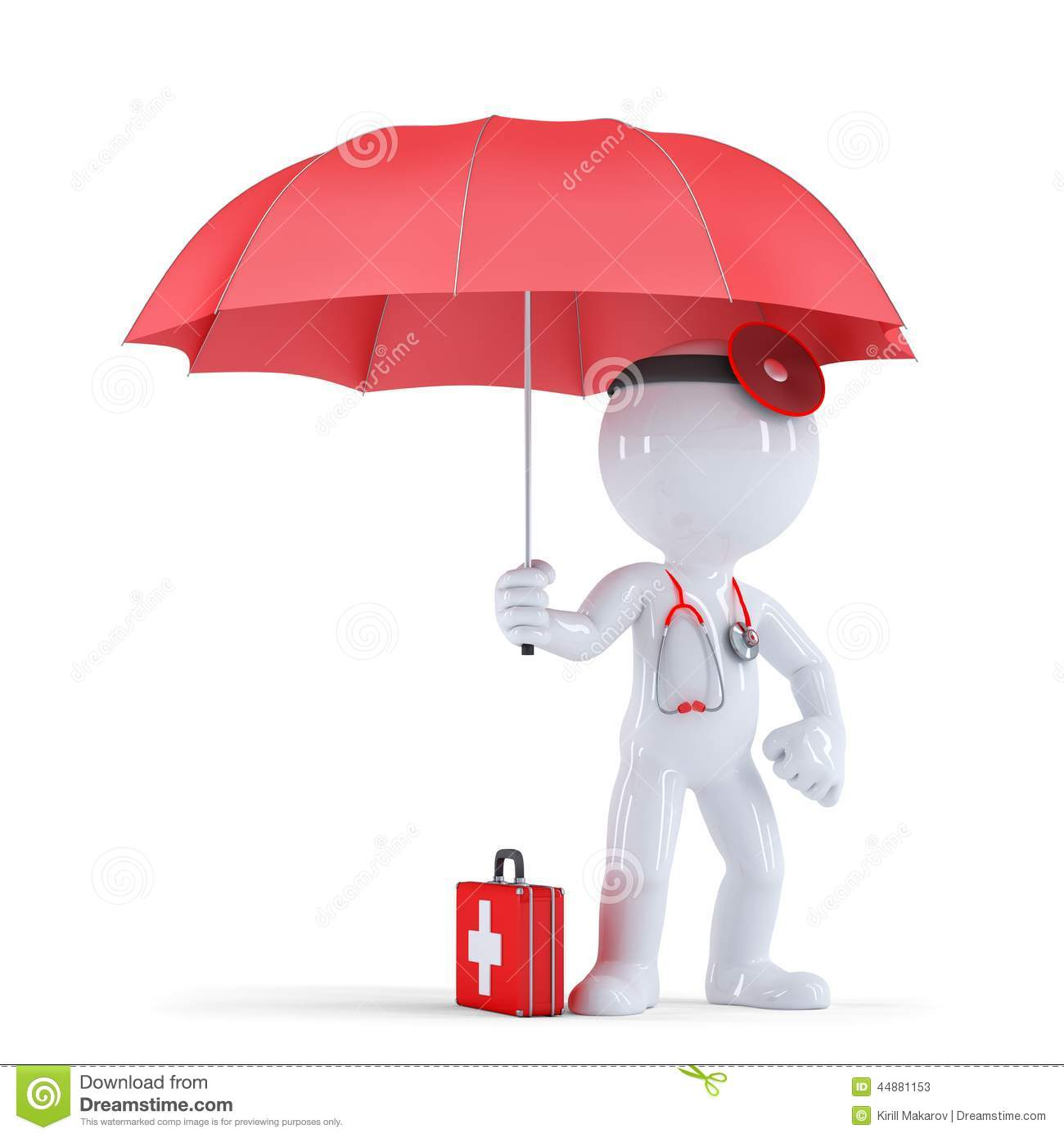 Doctor with umbrella. Health protection concept. . Contains clipping ...
