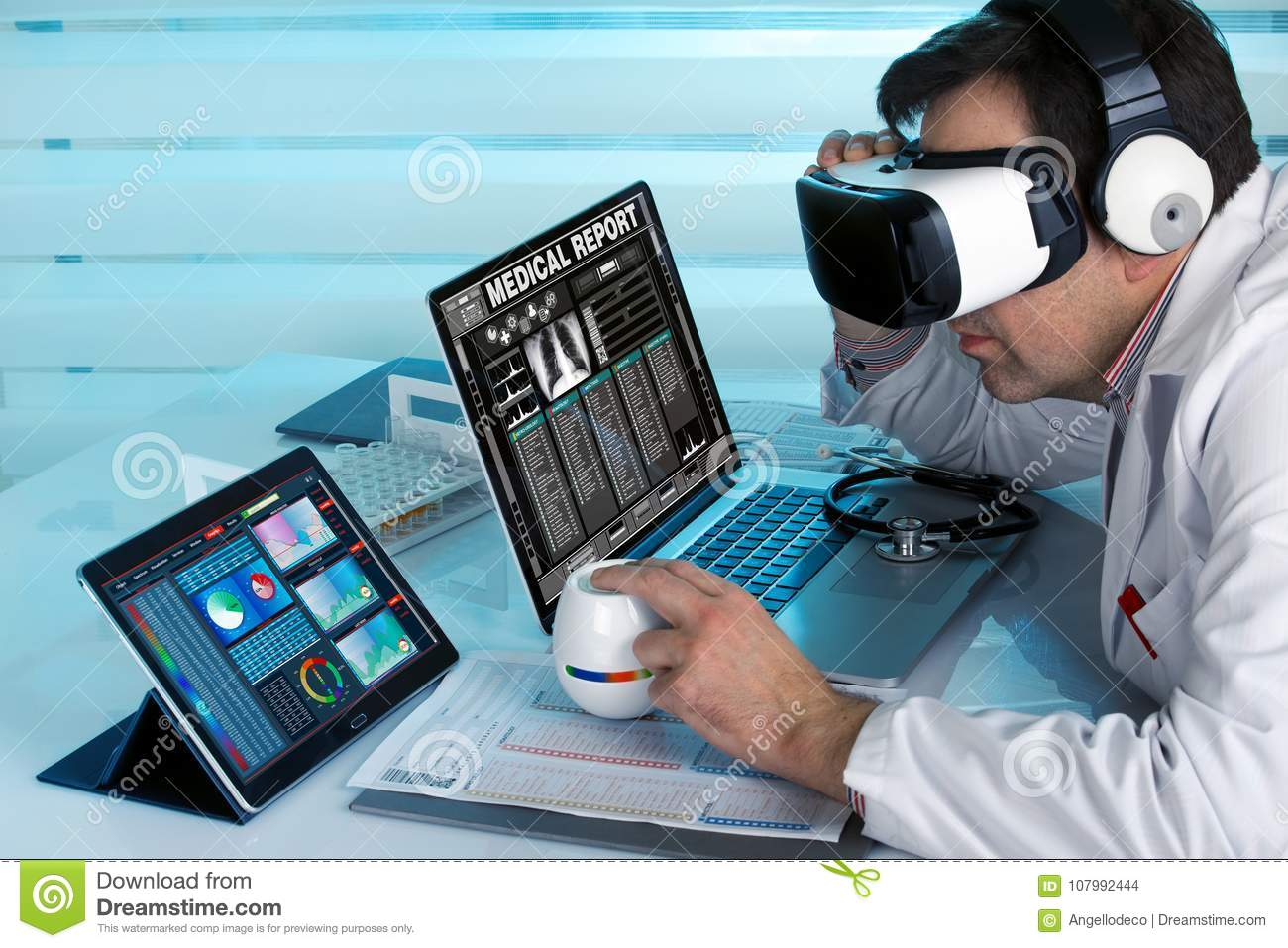 Doctor with virtual reality vr glasses and computers working in