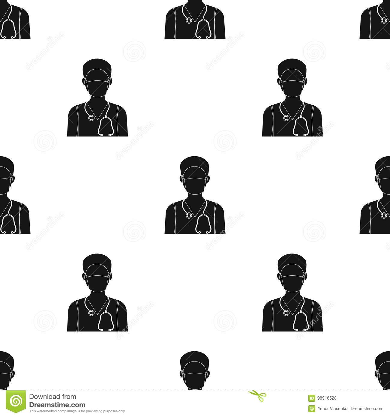 The doctor is wearing a face mask with a phonendoscope. Medicine single icon in black style vector symbol stock