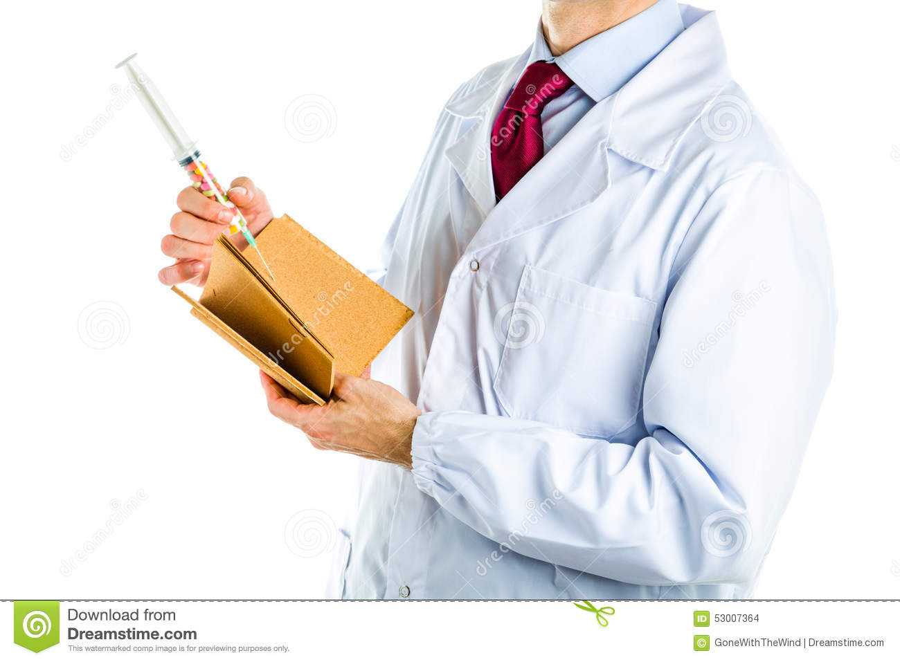 Doctor In White Coat Holding Cork Book And Syringe Stock Photo ...