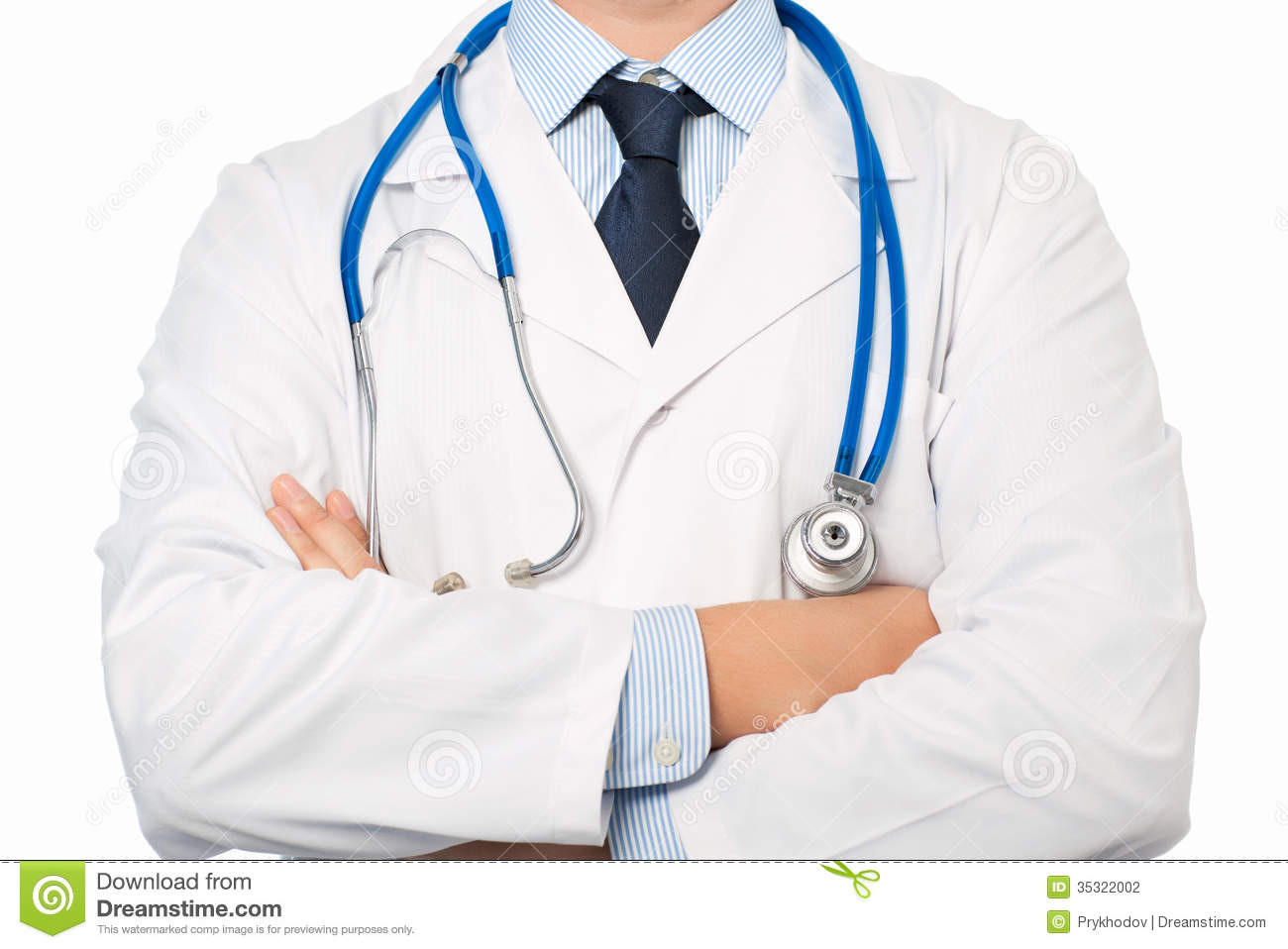 Doctor in white coat with a stethoscope stock photography image