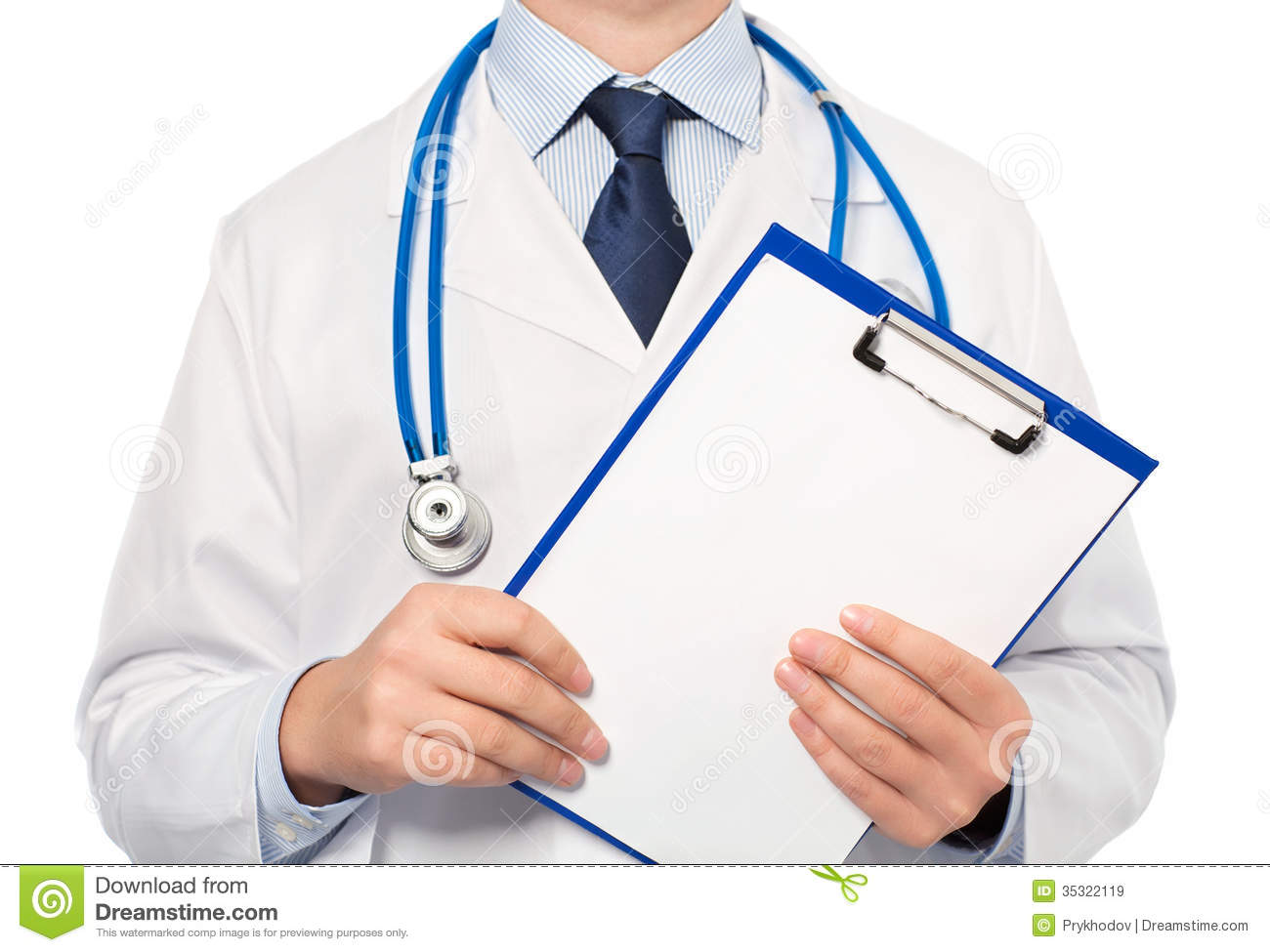 The Doctor In A White Coat With A Stethoscope Holding A Folder W ...