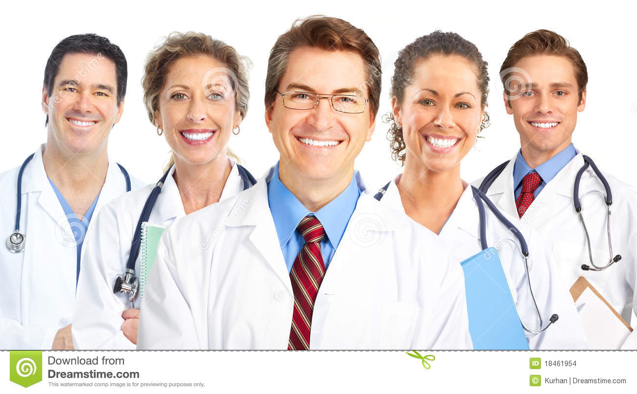Smiling doctors with stethoscopes. Isolated over white background.