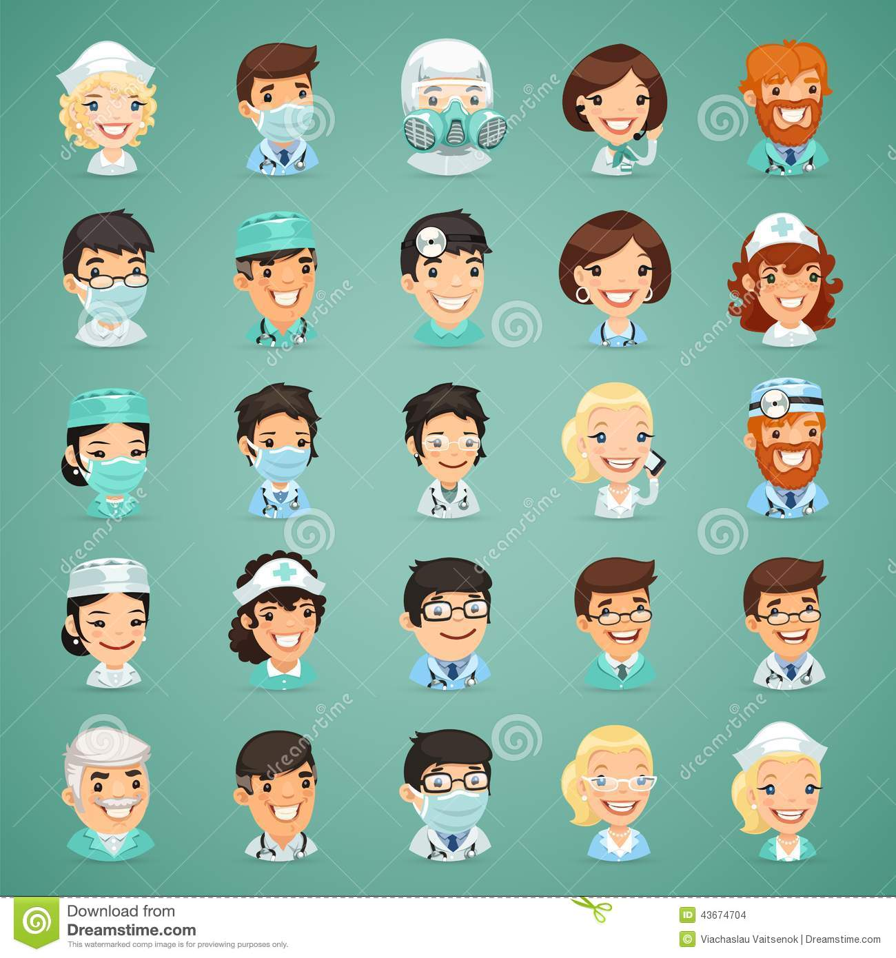 Doctors Cartoon Characters Icons Set Stock Vector Image