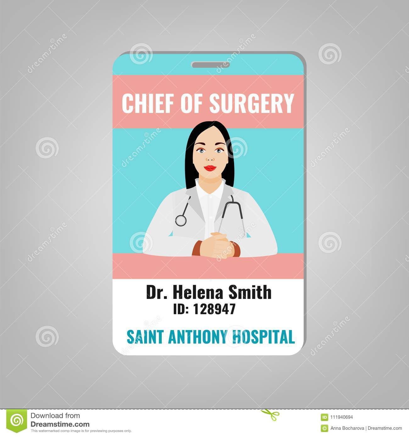 Doctor ID Card Stock Vector Illustration Of