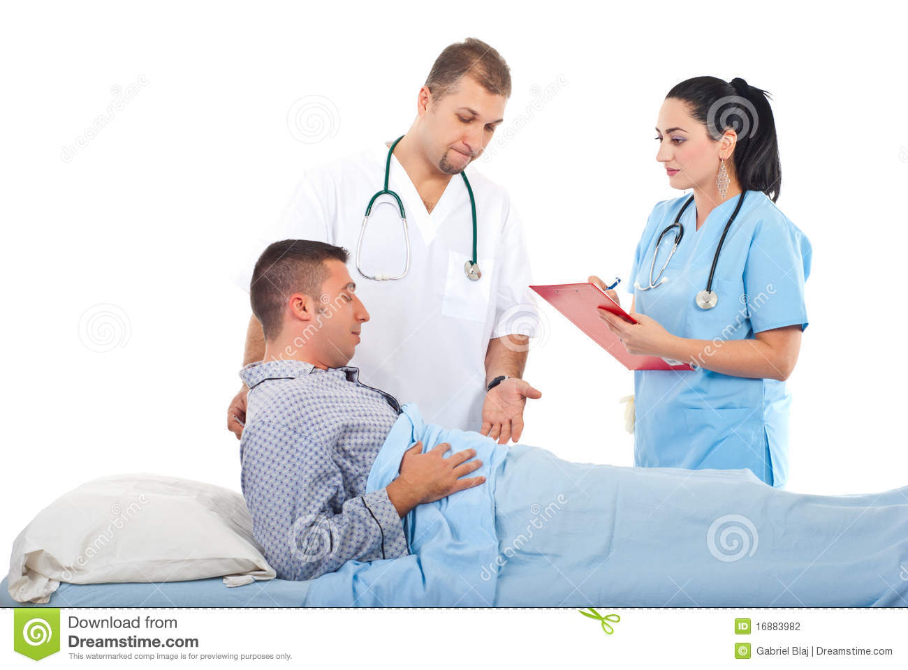 Female Doctor Or Nurse In Hospital With Male Patient Stock -3906
