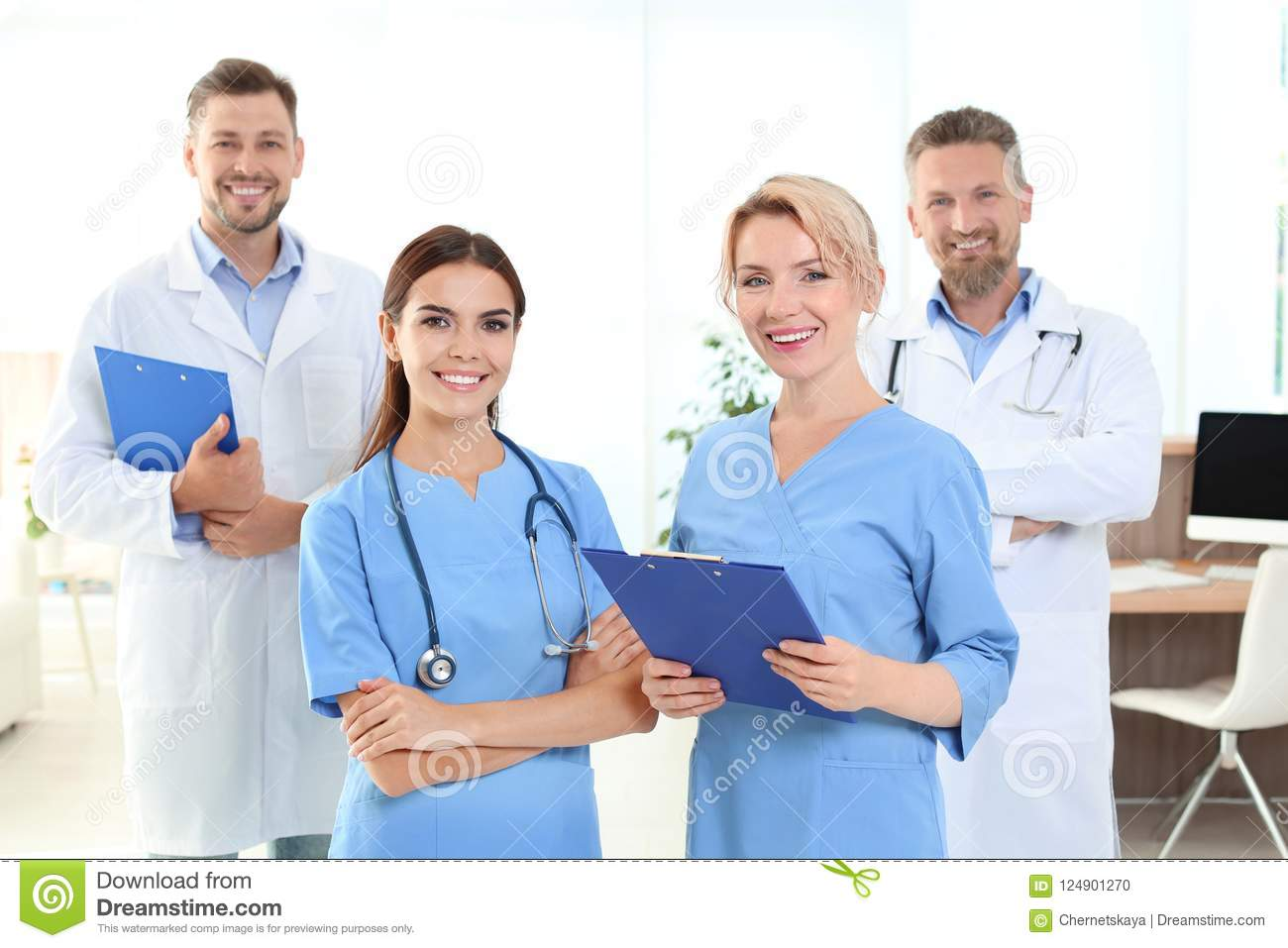 Doctors and medical assistants in clinic