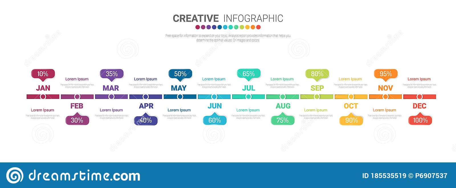 timeline template for 12 months  1 year stock vector