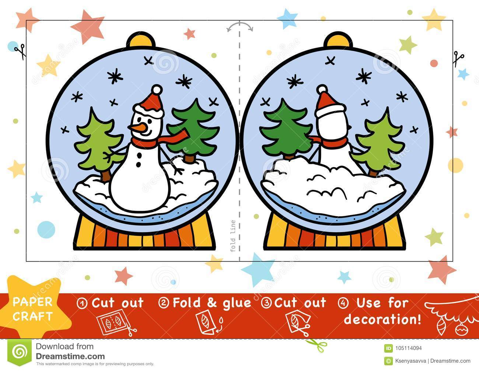 Document Ambachten voor kinderen, Sneeuwbal met een sneeuwman