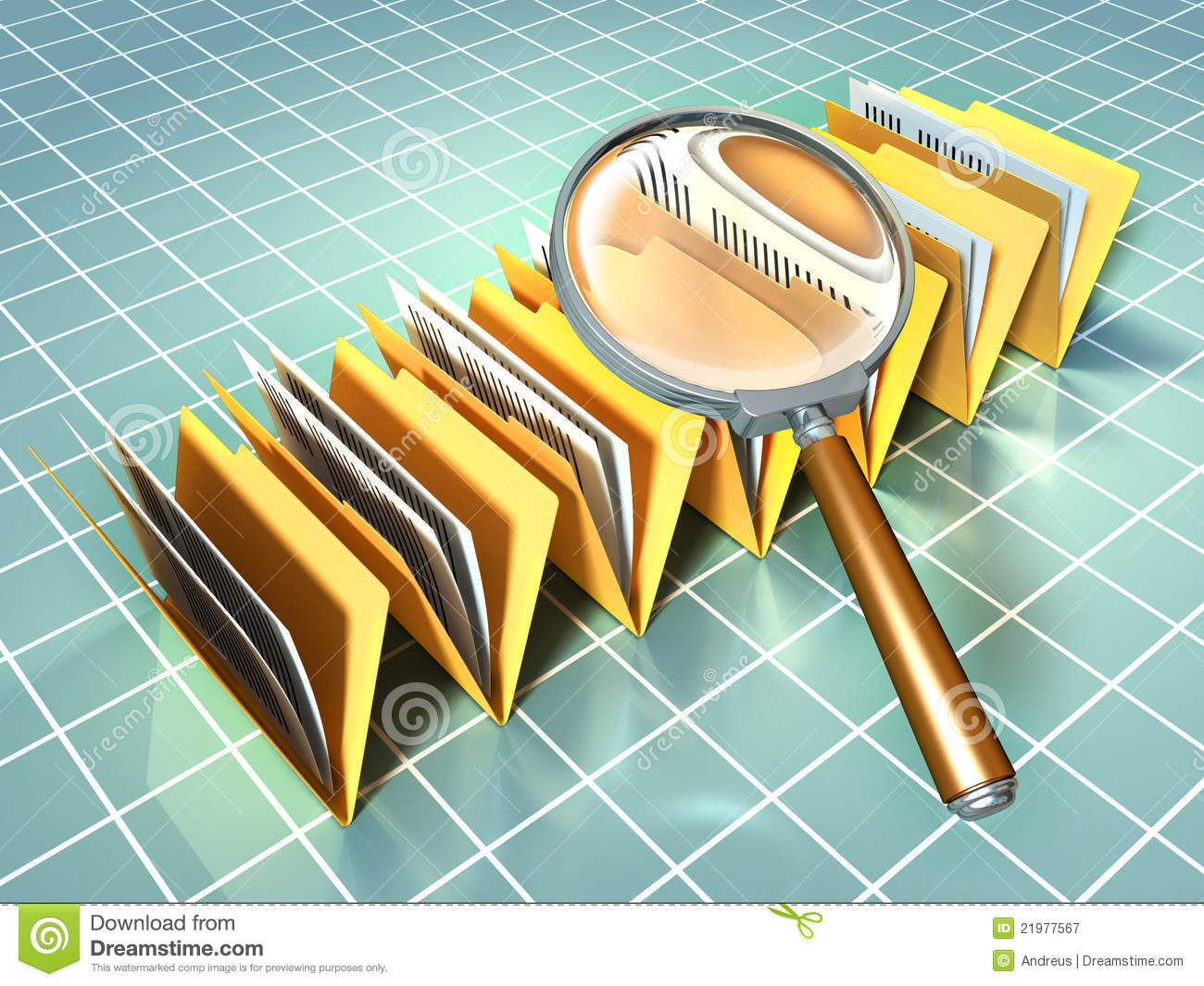 Some document folders under a magnifying glass. Digital illustration.