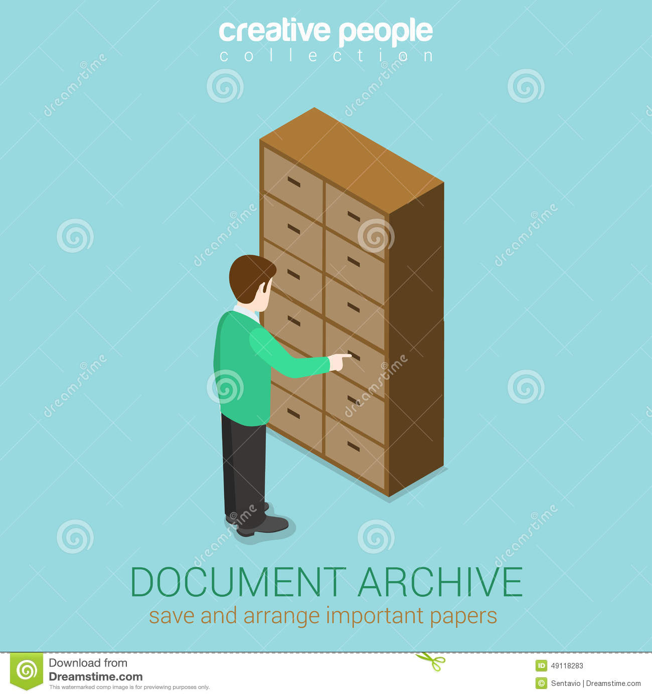 Document Archive Cabinet Interior Flat 3d Web Isometric