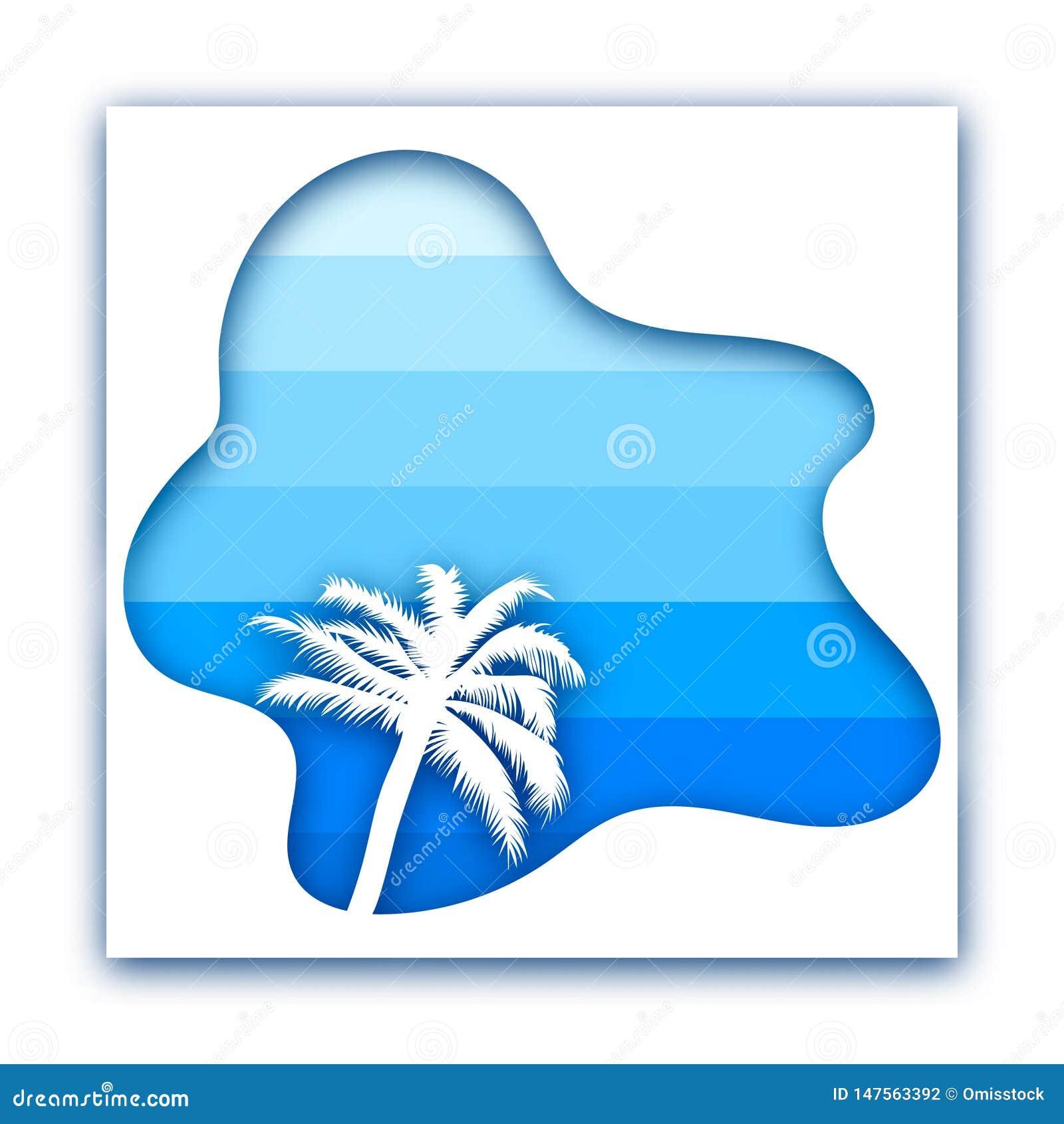 Document besnoeiingsontwerp met palm tegen overzees en hemel