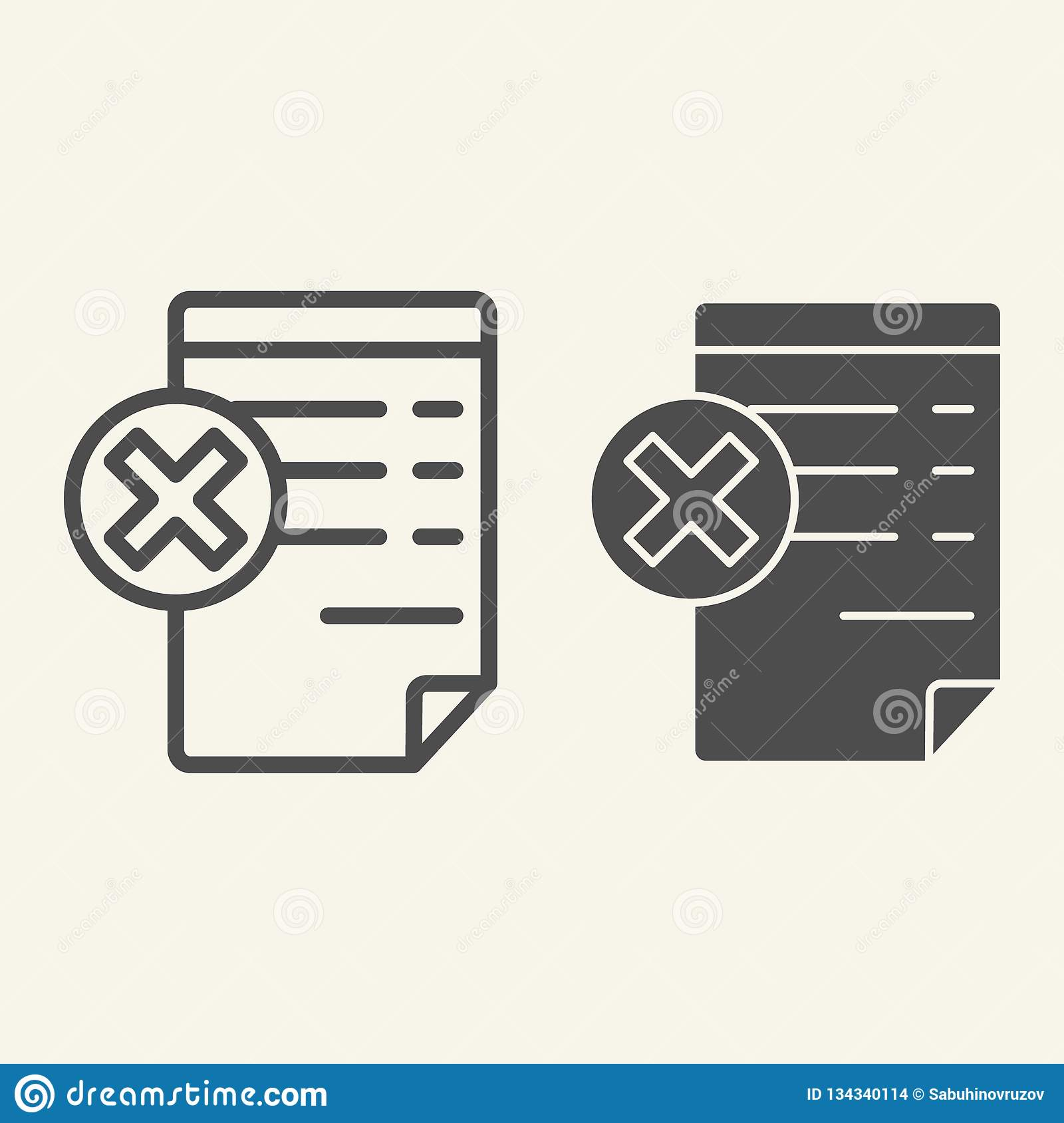 Document with cancel sign line and glyph icon. Paper with cross vector illustration isolated on white. Reject file