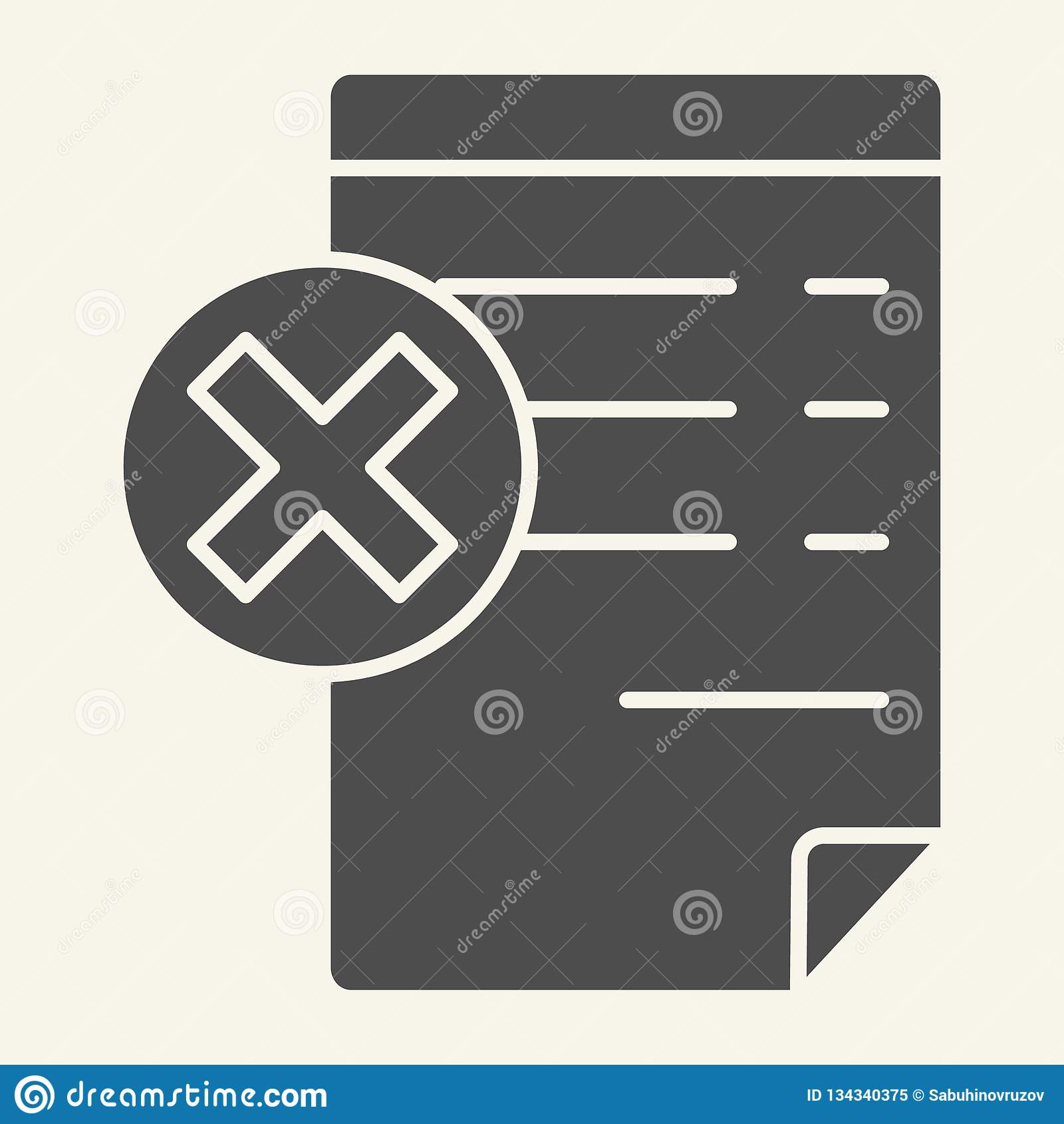 Document with cancel sign solid icon. Paper with cross vector illustration isolated on white. Reject file glyph style