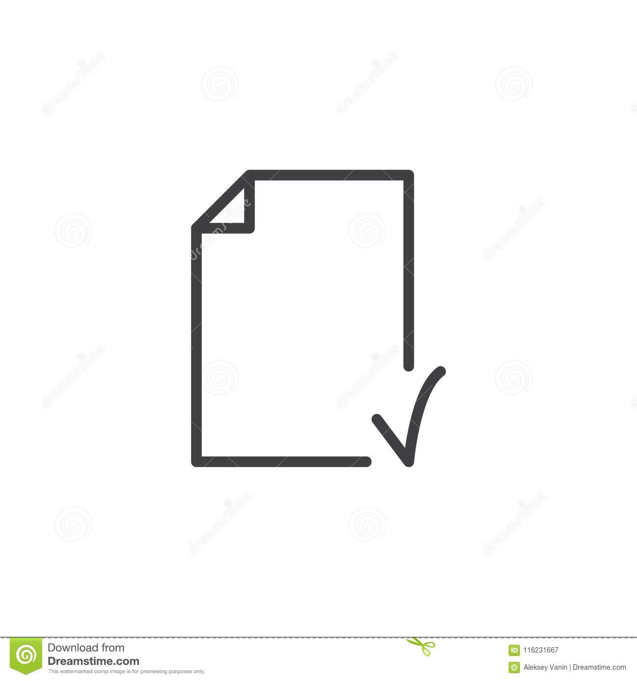 document check outline icon stock vector illustration of