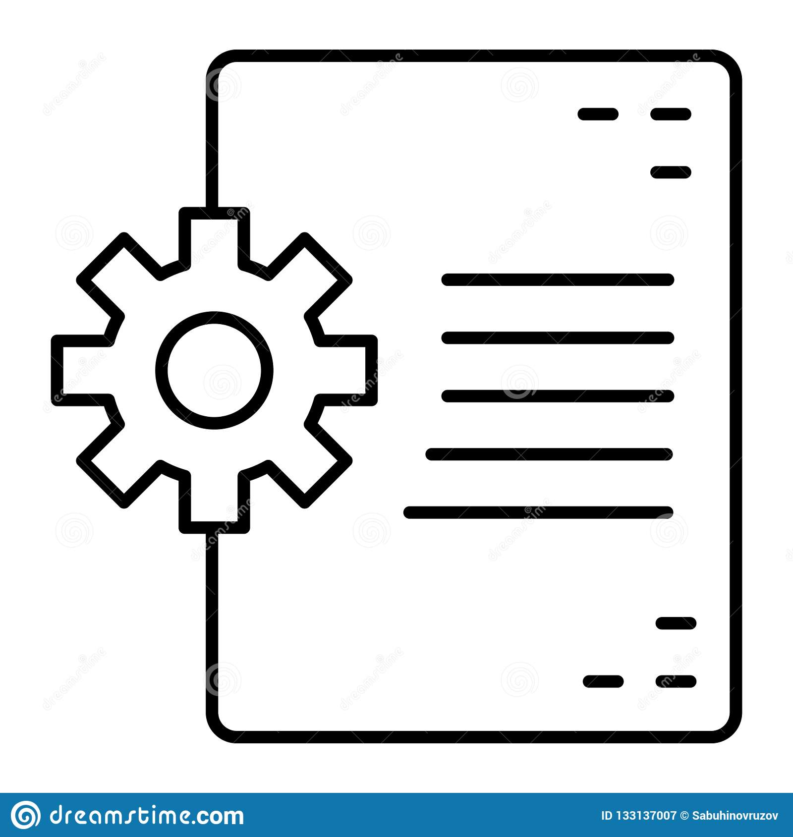 Document and cogwheel thin line icon. Document in developing vector illustration isolated on white. File and gear