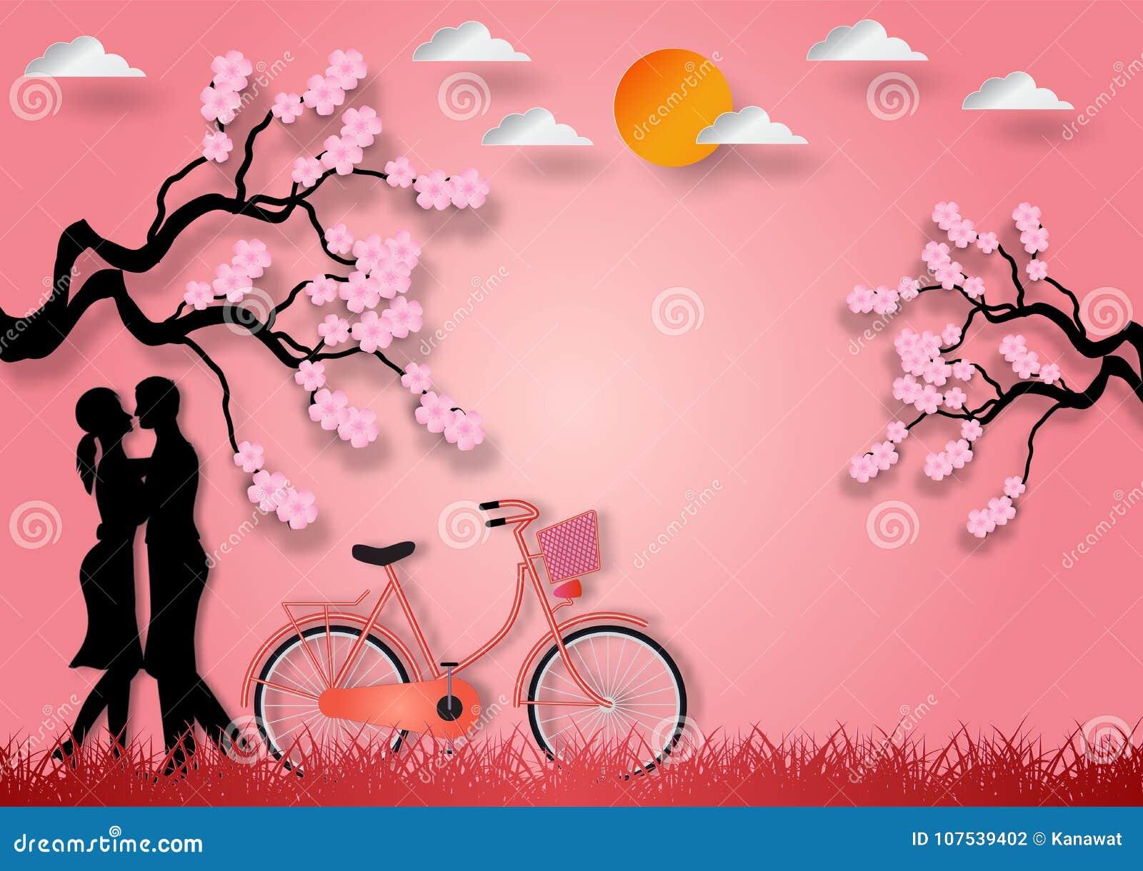 Document de kunststijl van de mens en de vrouw in liefde met fiets en kers komen op roze achtergrond tot bloei Vector illustratie