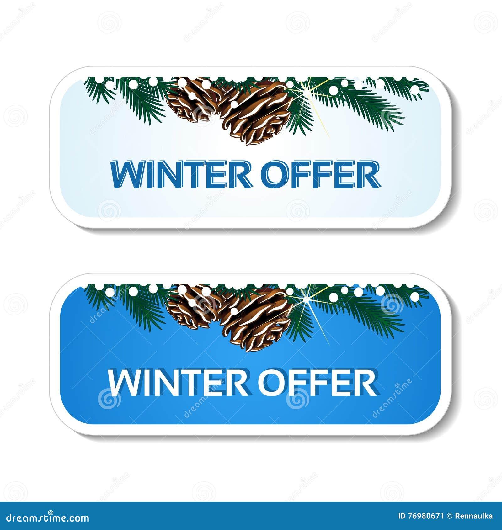 Document de winteraanbieding, blauwe stickers op de witte achtergrond - het etiket van de Kerstmisverkoop met met pinecones en ta