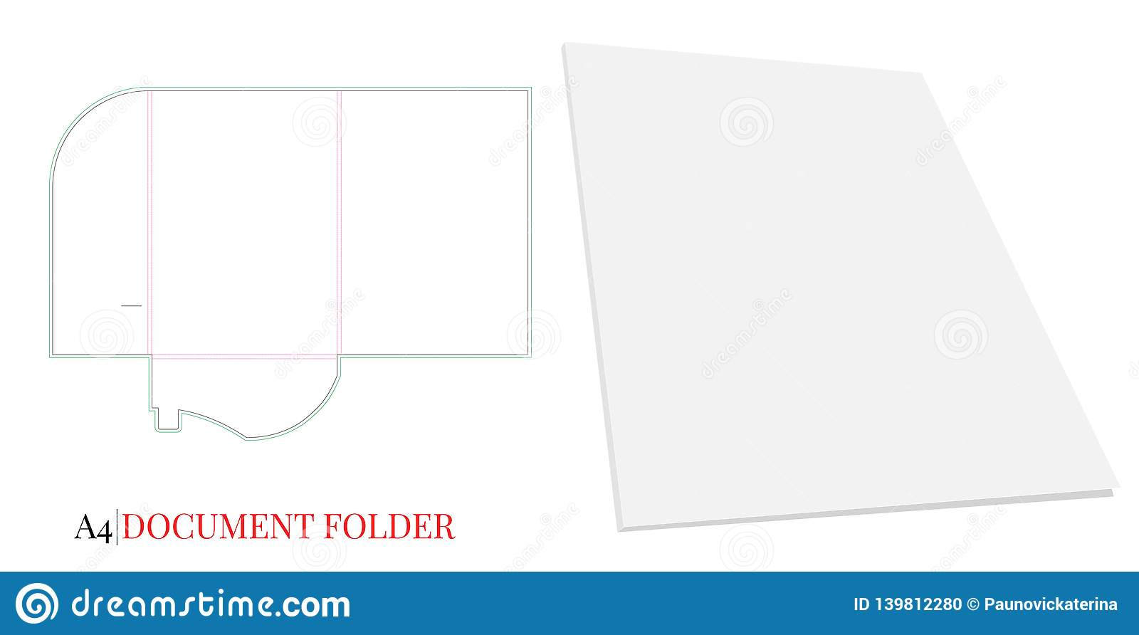 Document Folder Template, A4  Vector With Die Cut / Laser Cut Layers